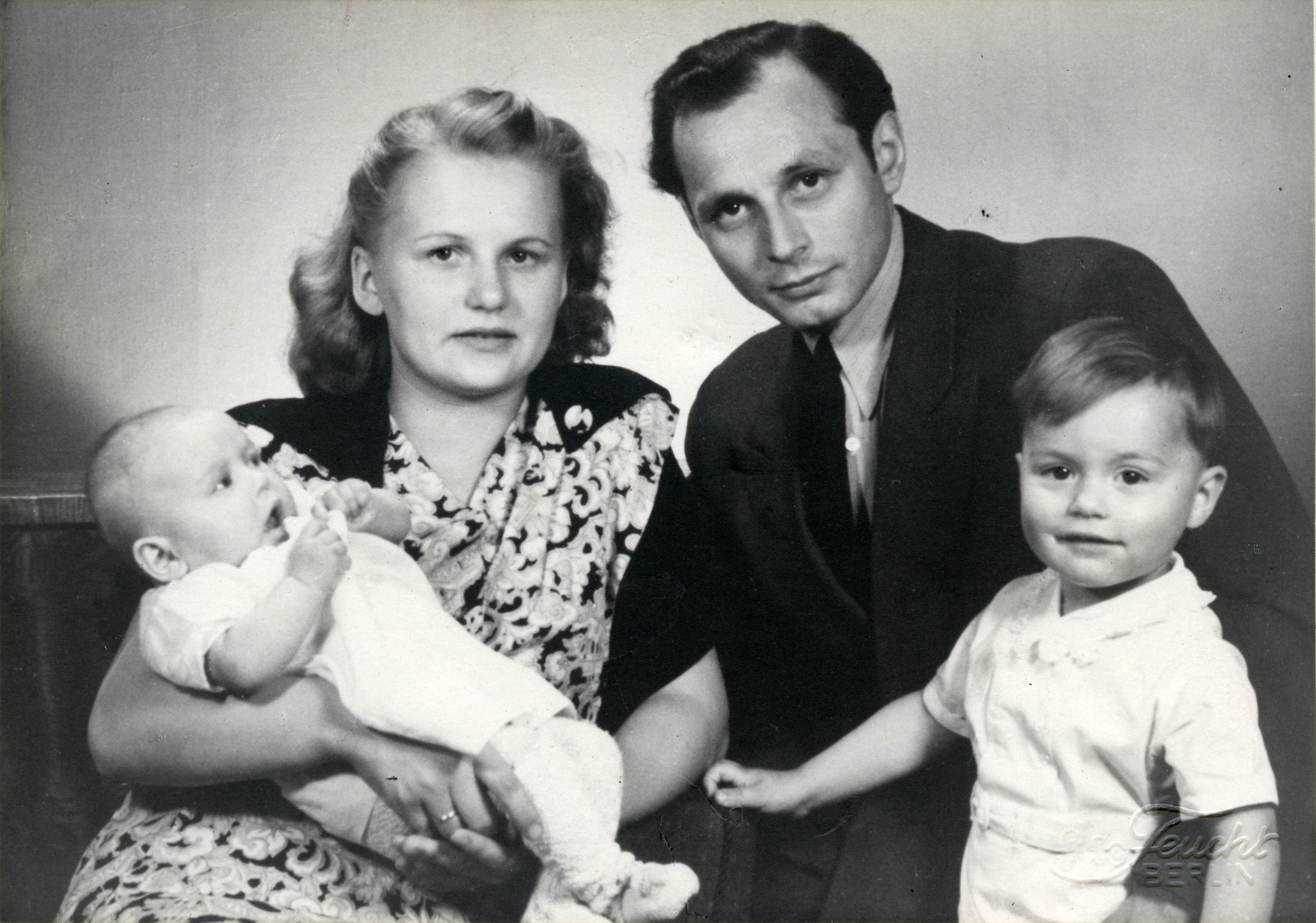 Portrait of the Friedlander family.  Pictured are Martin and Margot Friedlander, with their children Brigitta and Norbert. (right).