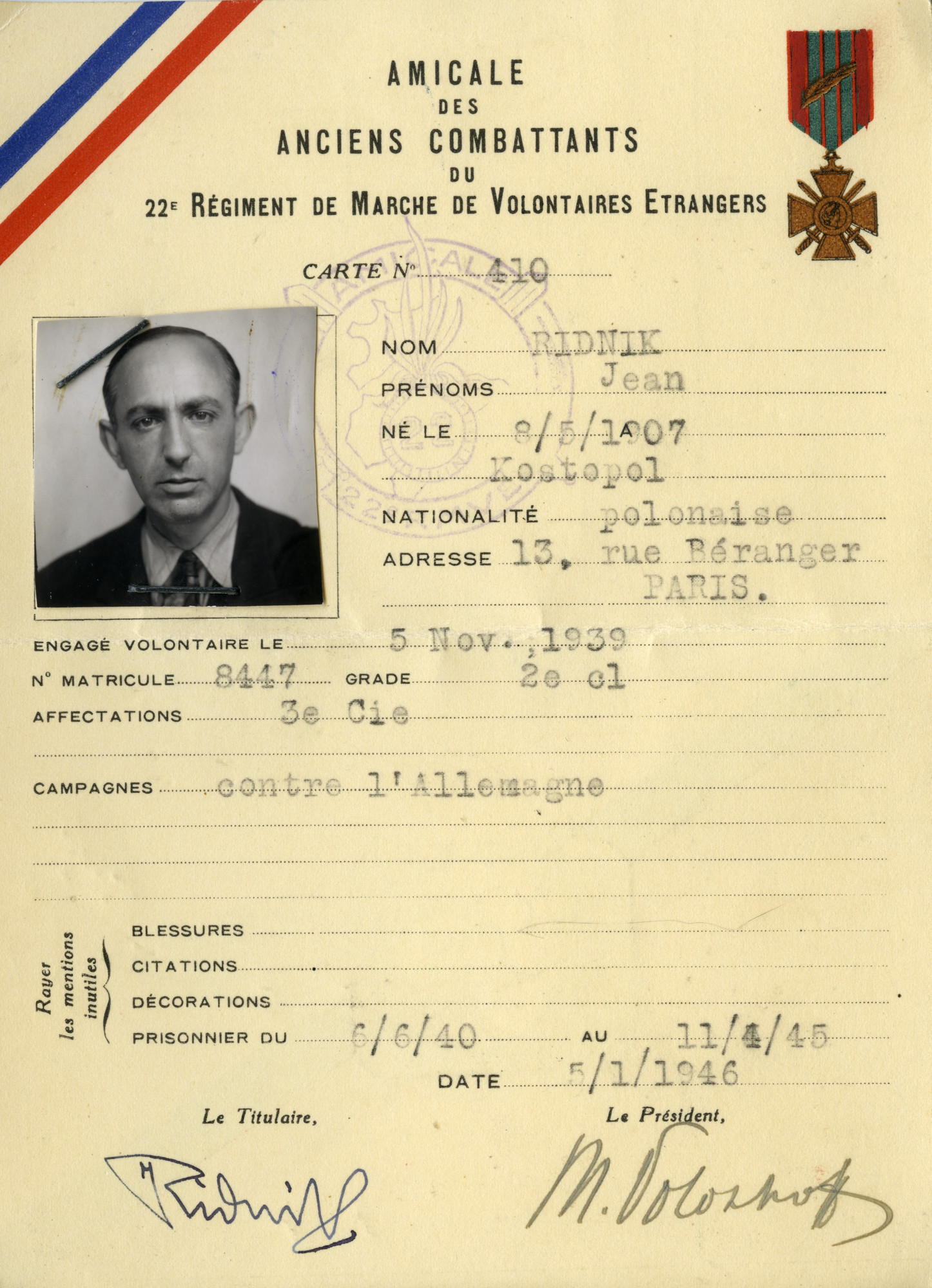 Card attesting to Yaakov (Jean/Jankl) Ridnik having spent time as a prisoner of war.