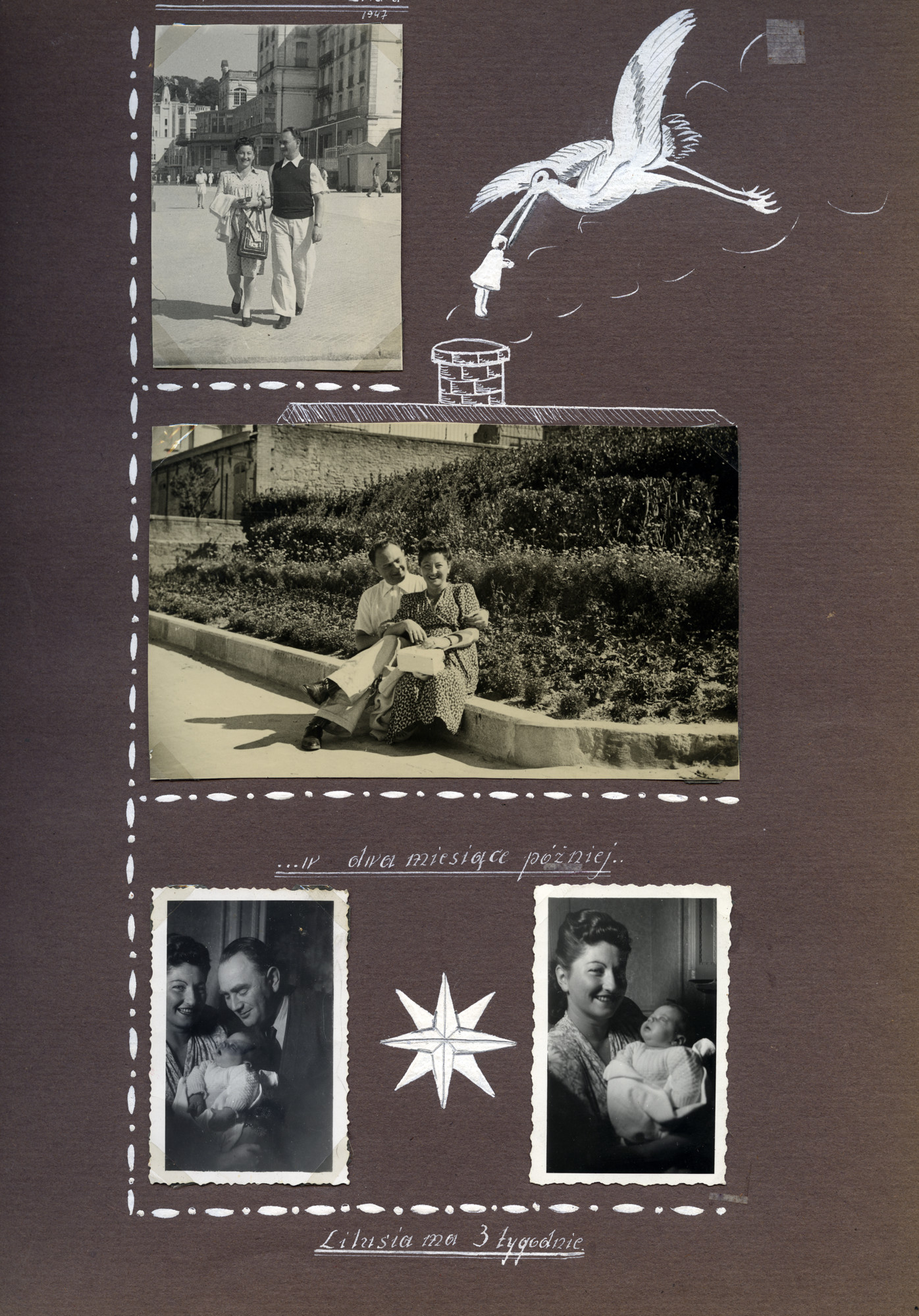 Collage of photographs of Franka (nee Kempinski) and Sewek Winograd in Paris, with their daughter Liliane.