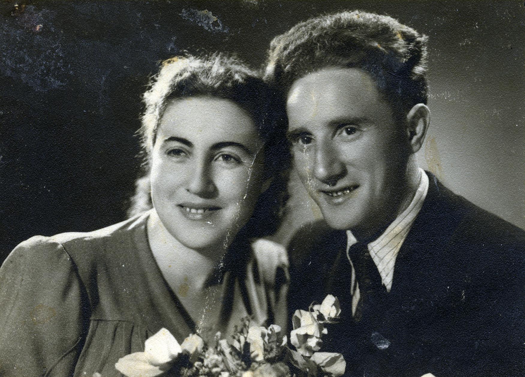 Postwar wedding photograph of survivors from Kalisz, Poland.   Pictured are Ester (nee Gluba) and Jeszaayahu Kawe.