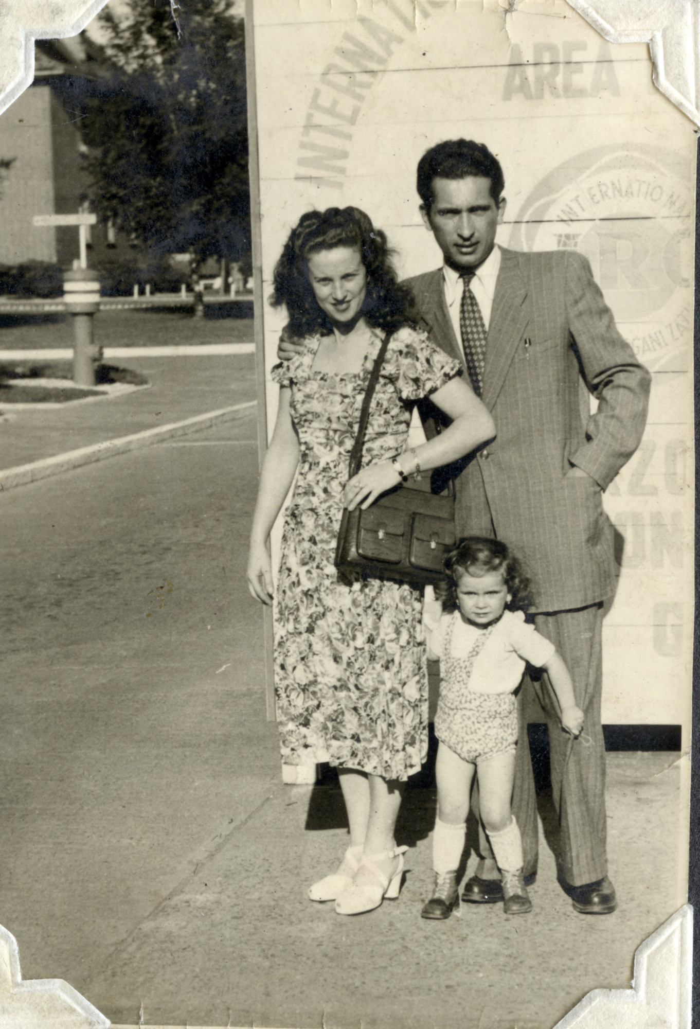 A Czech Jewish family ready to depart for the United States from the porf of Bremen, Germany.  Pictured are Bella and David Perl with their daughter Rachel.