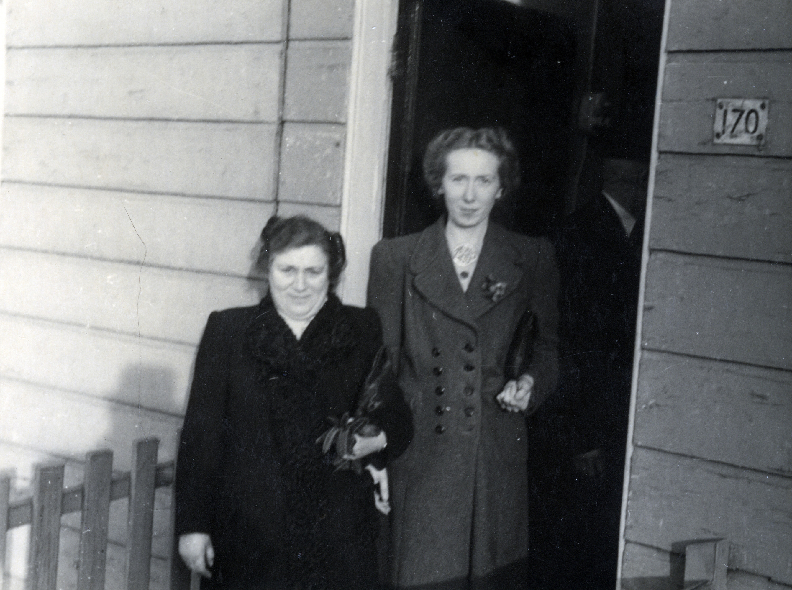 A Jewish woman and her son's rescuer pose for a photograph after the war.  Pictured are Judith Polak and Wietske Selier, who was later recognized as Righteous Among the Nations by Yad Vashem.