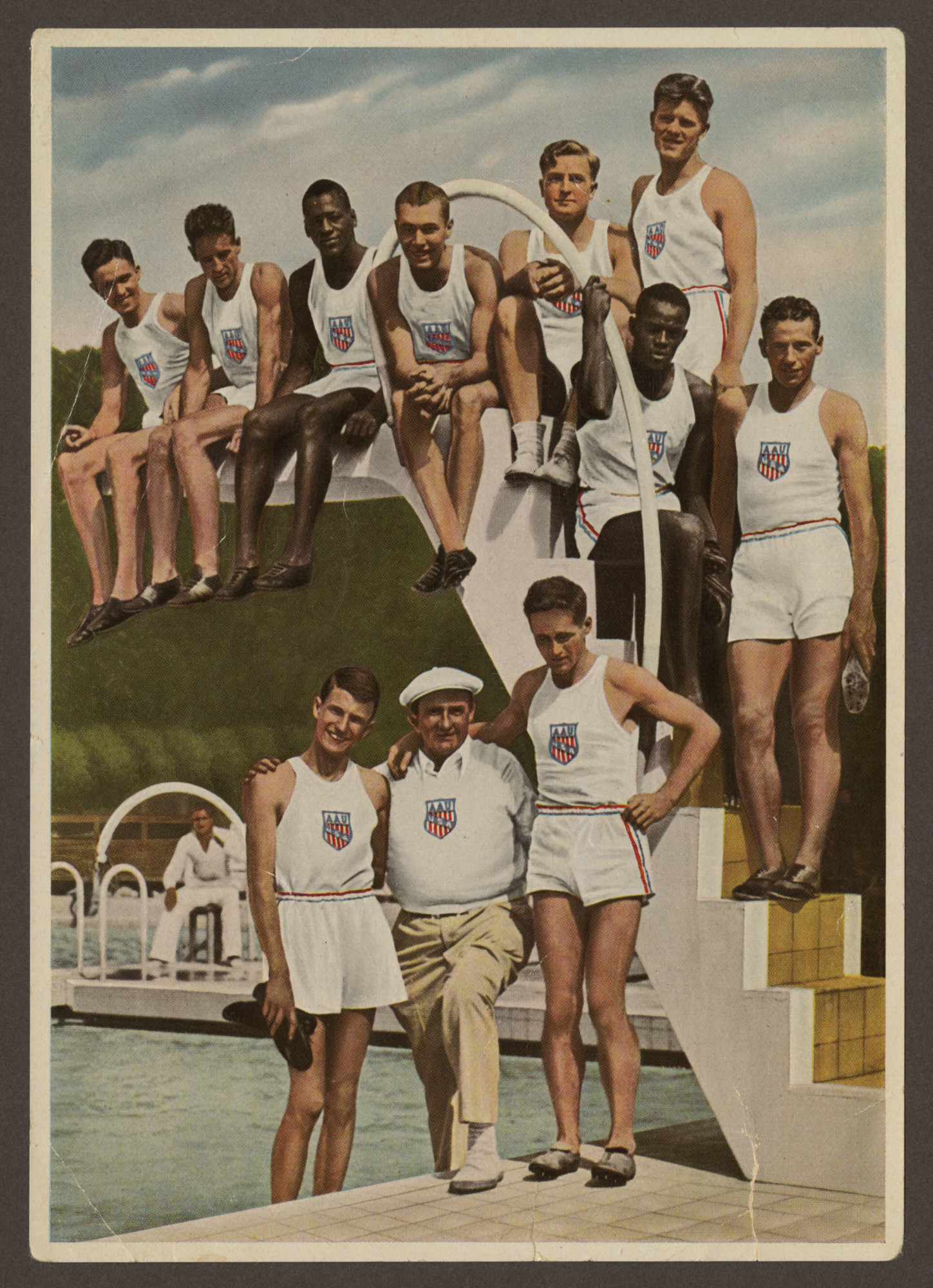 American track and field athletes pose for a group photograph during the 1936 Olympics.