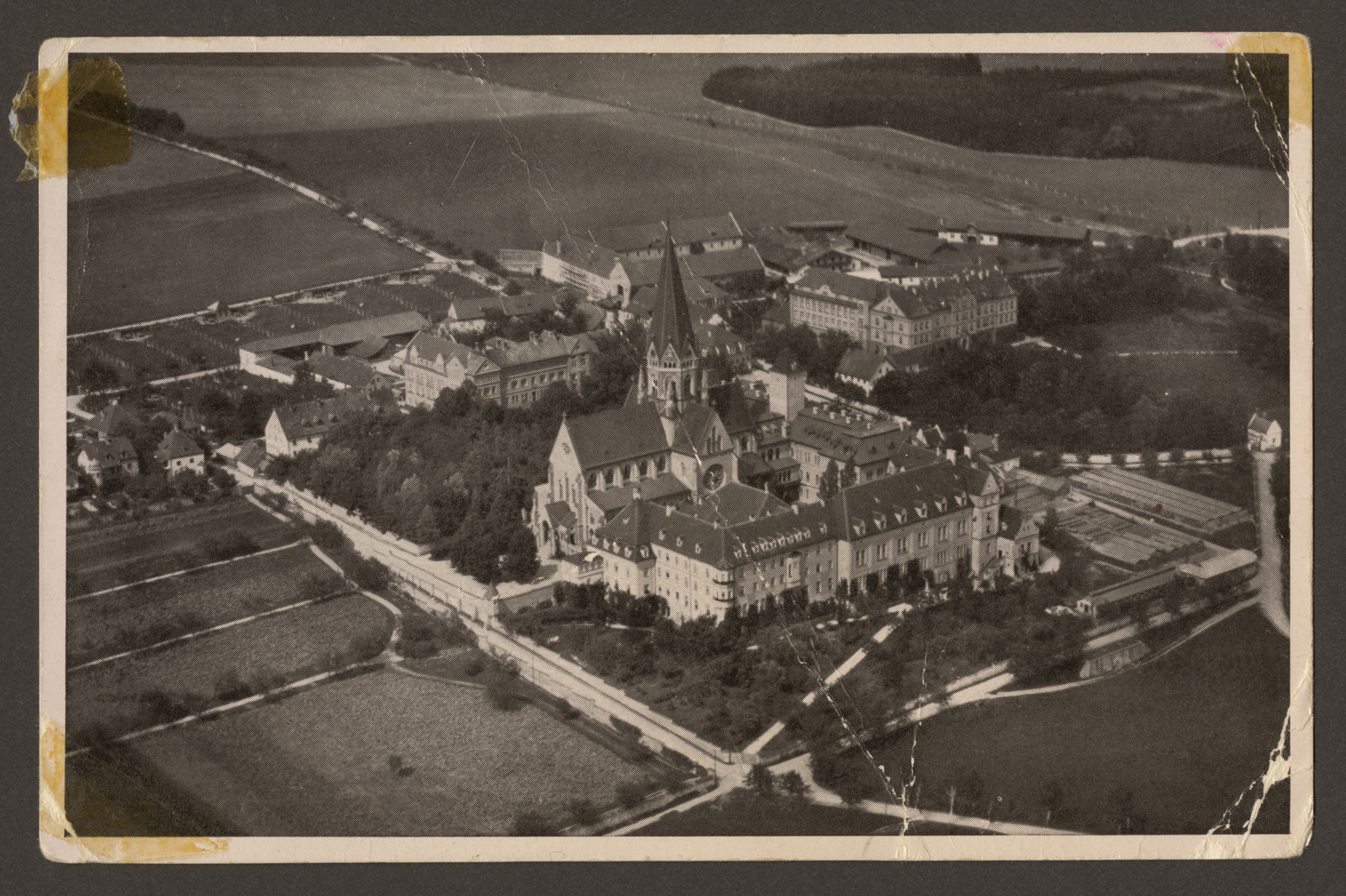 View of the cloister of Sankt (Saint) Ottilien which was lconverted to a German military hospital during the war and after the war as a displaced persons camp and hospital.