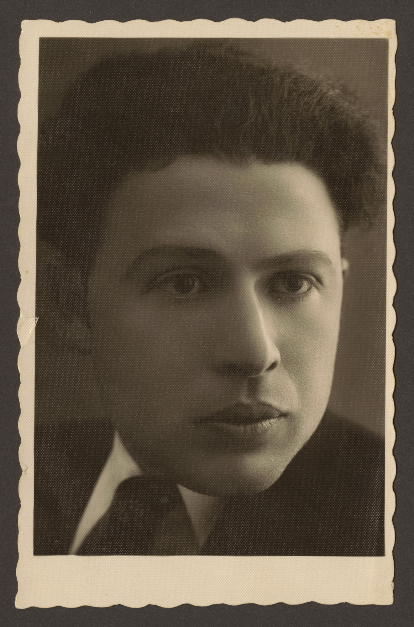 Studio portrait of mother's brother Yehoshua Blacher who was murdered in the Slobodka Yeshiva Pogrom in June 1941.