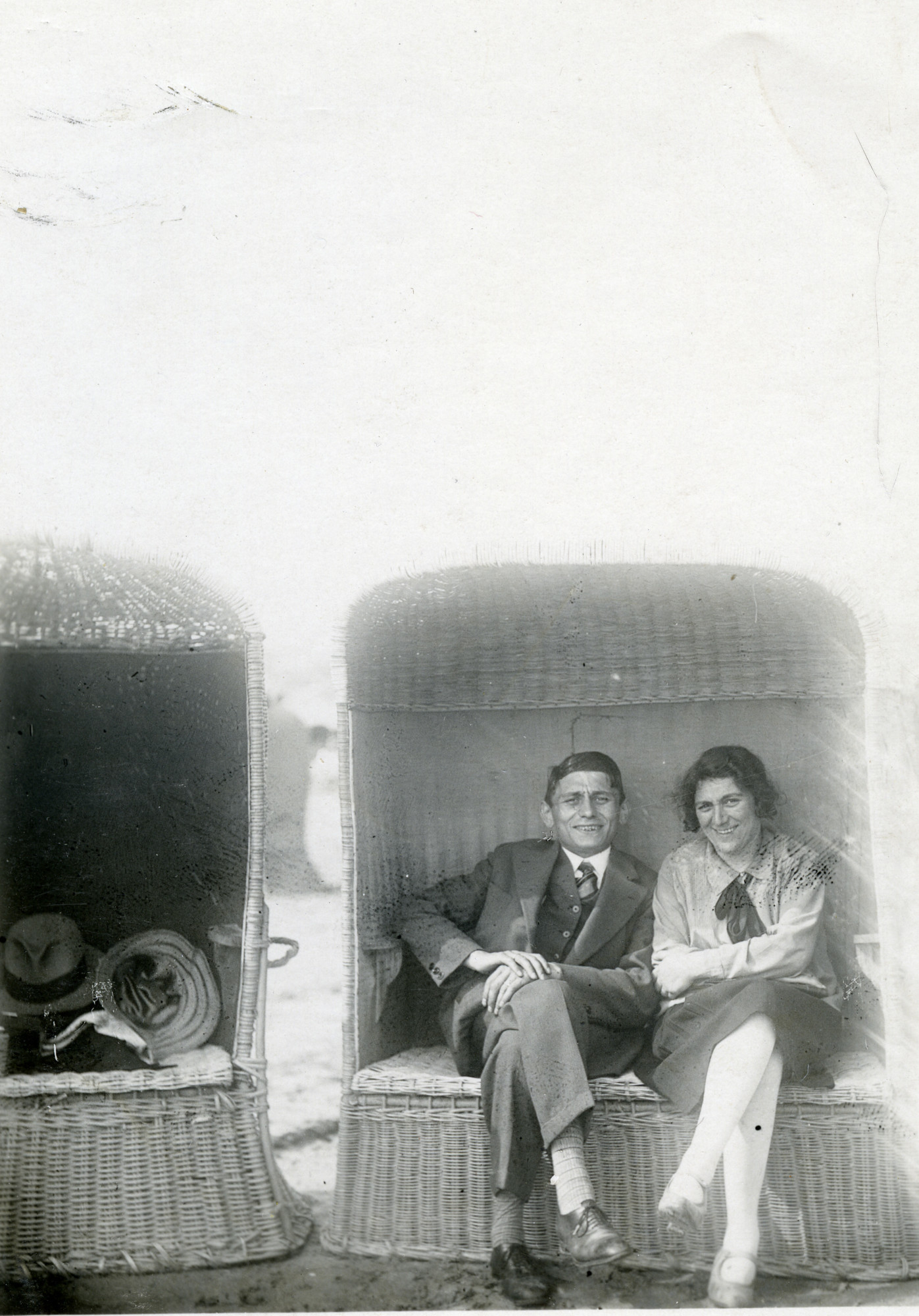 Wolf and Jusith Polak relax in a beach shelter  in Zandvoort.