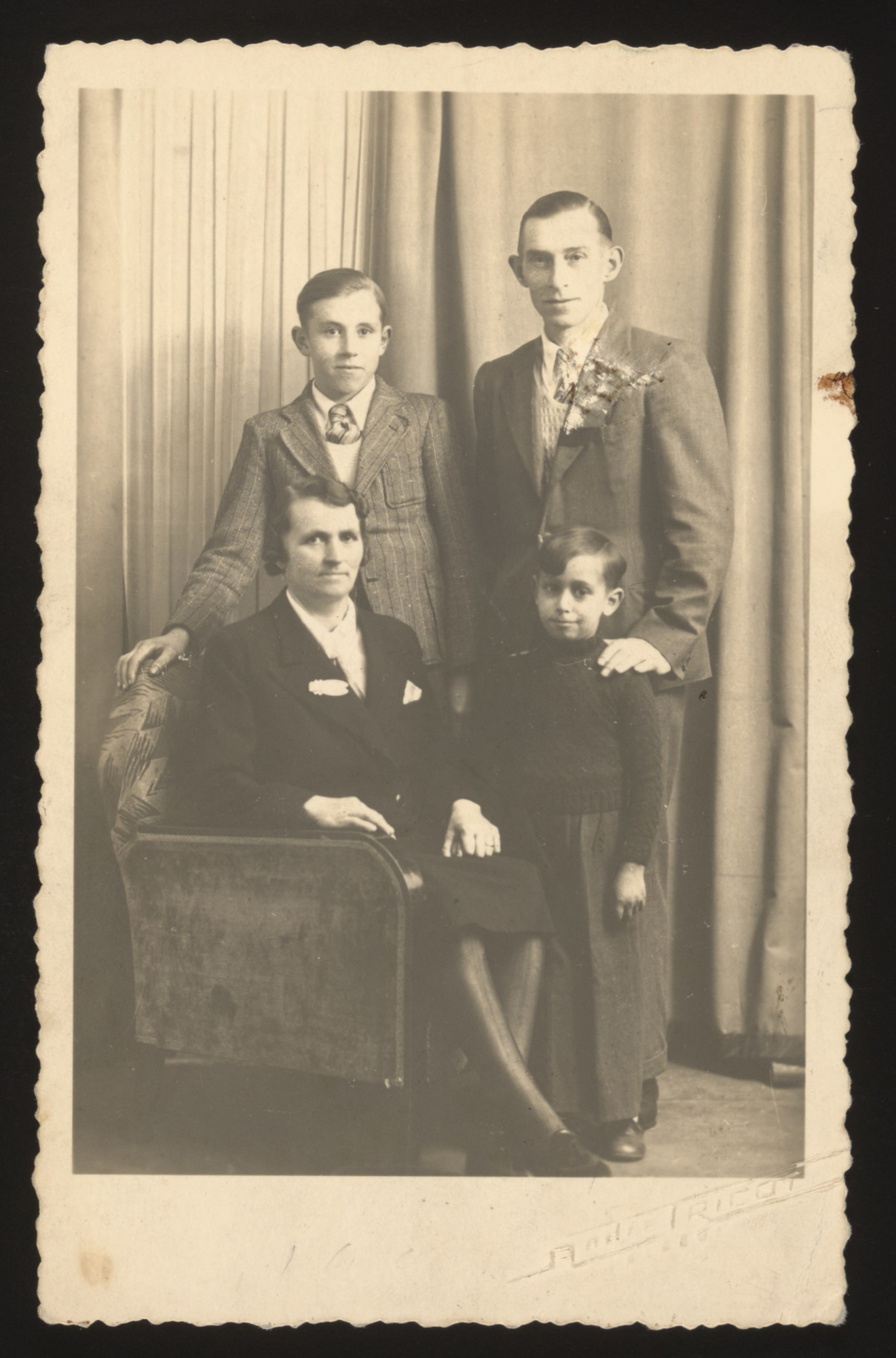 A young Jewish boy poses with members of the French family which sheltered him during the German occupation.    Pictured is 6-year-old Michel Jeruchim with the Le Clere family.