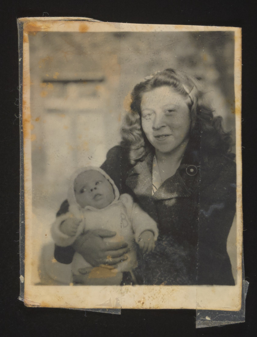 Survivor Magda Bernat poses with her son Stephen while living in the Bamberg displaced persons camp.