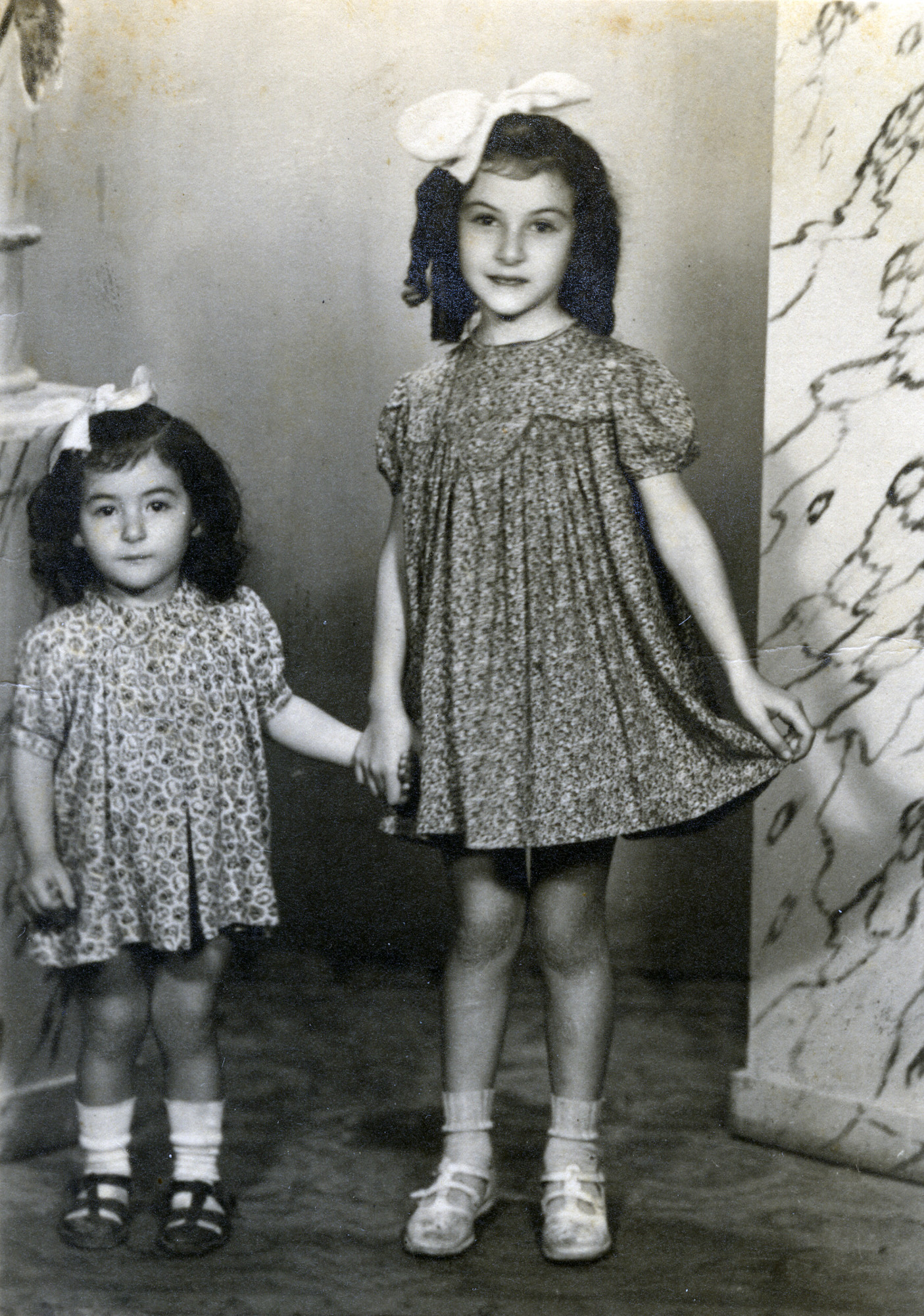 Studio portrait of Ella and Rina Fransevic in postwar Skopje.