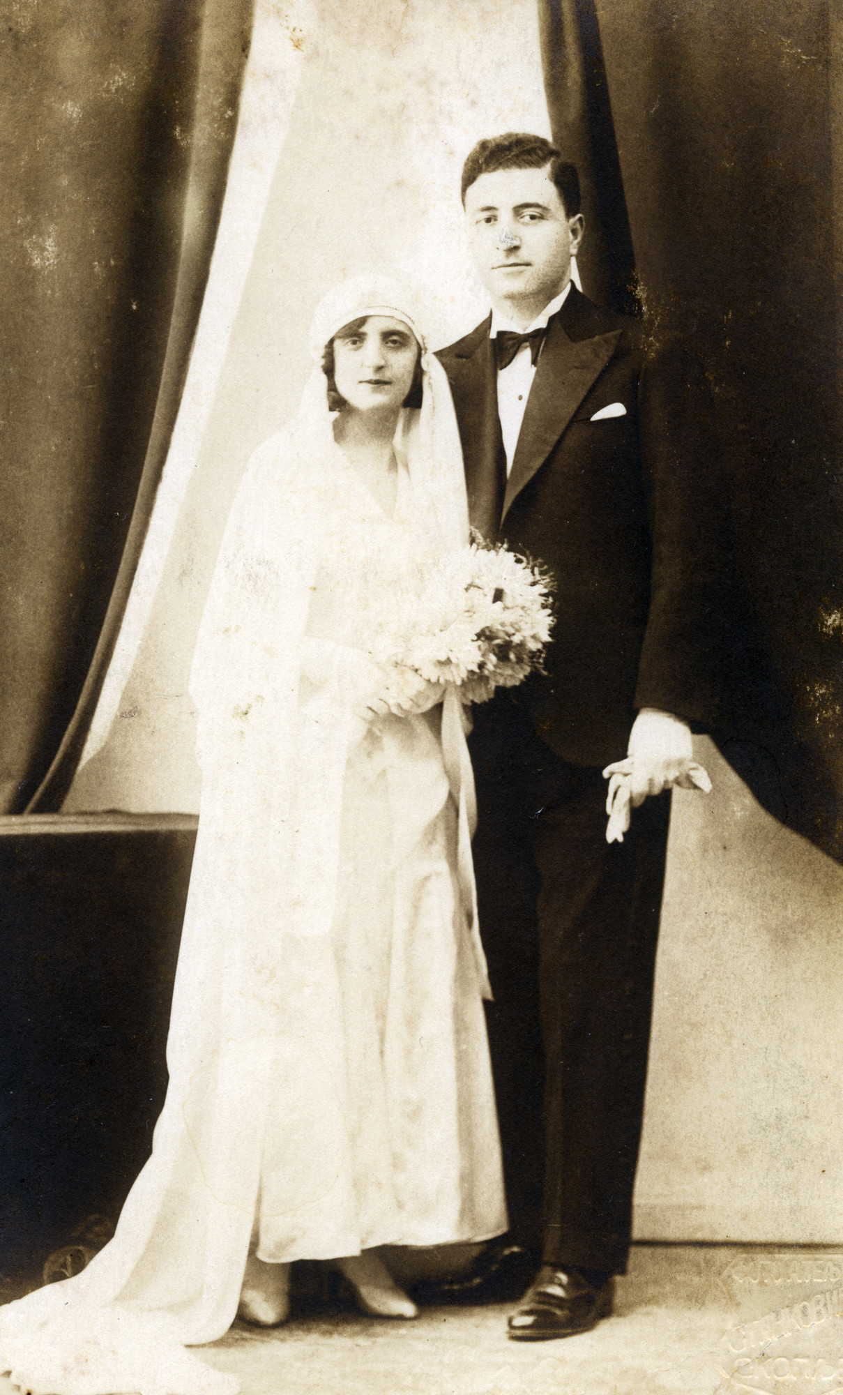 Wedding portrait of Sarina and Jacques Colonomos.
