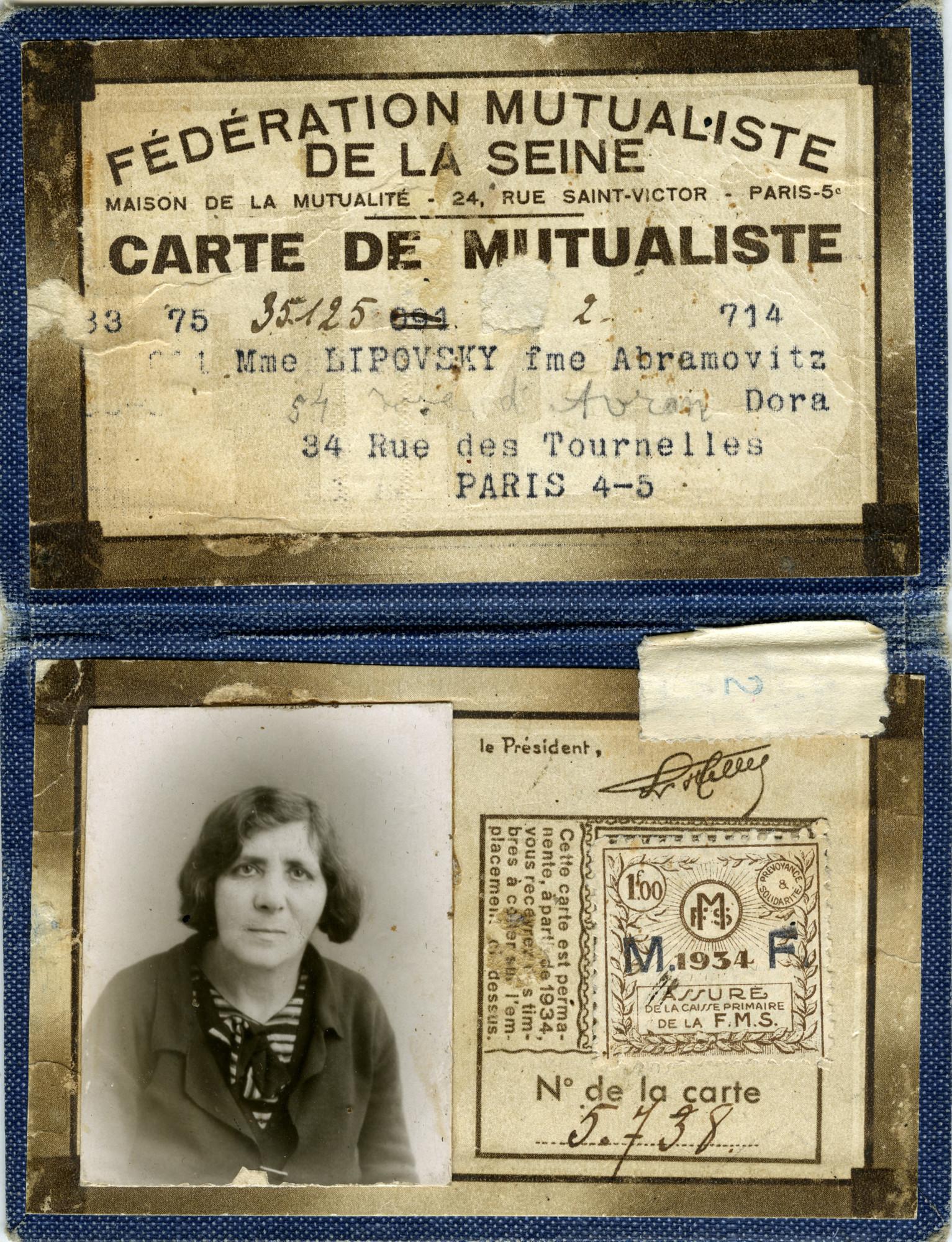 Dora Abramovitz' seamstress Carte de Mutualiste.