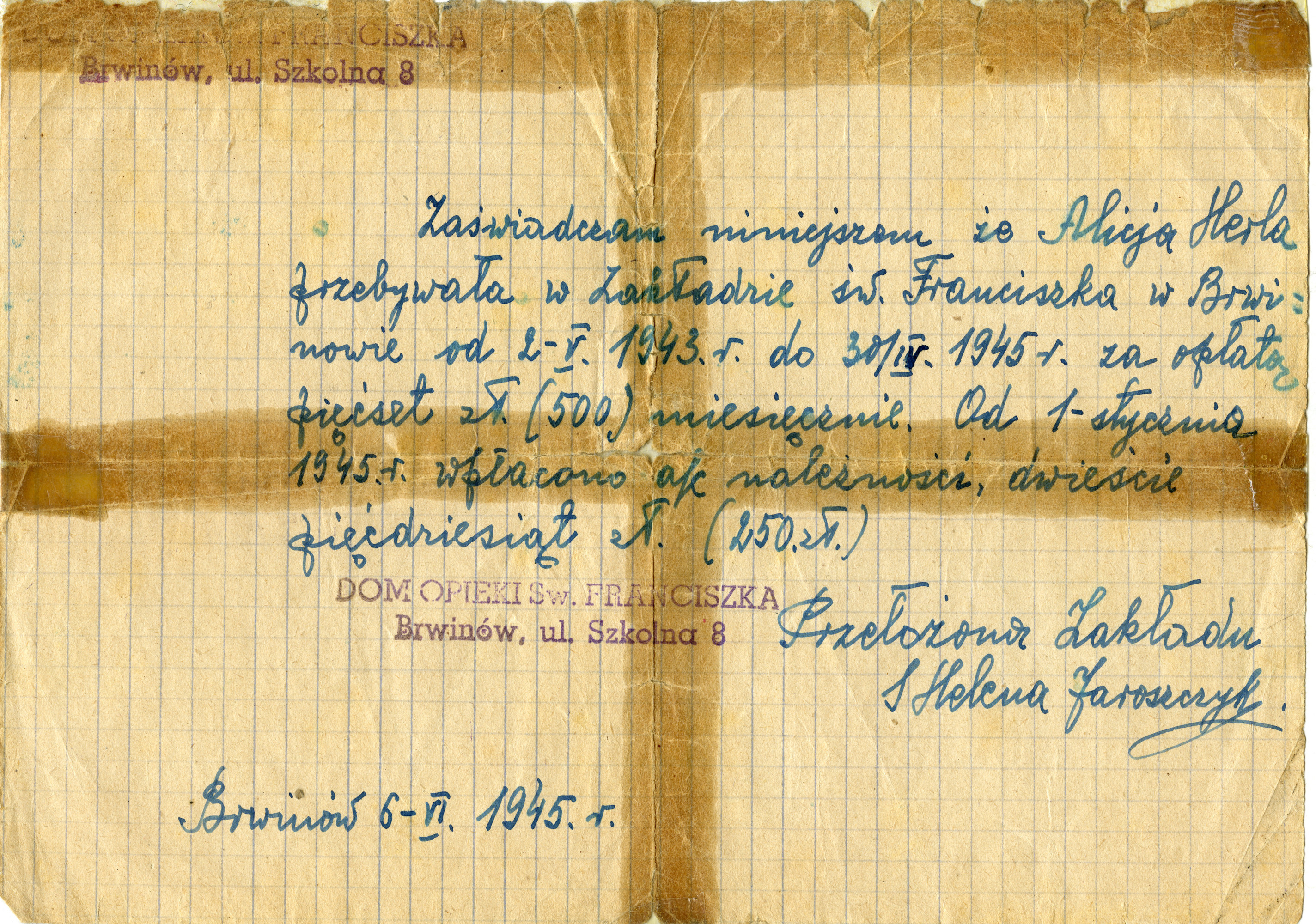 Document stating that the Polish underground paid 500 zlotys per month to the monastery in Brwinow from 5/2/1943 to 4/30/1945, for the care of Alicja Herla (Leah Alterman).