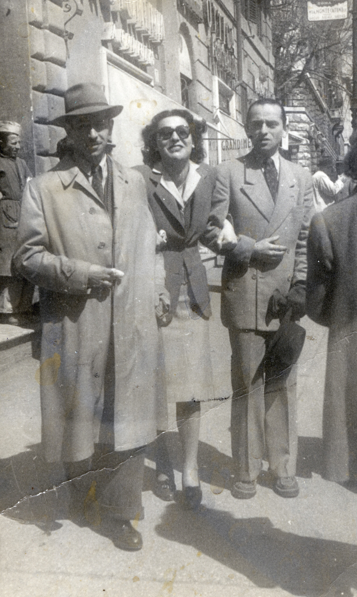 A Hungarian Jewish member of the Italian underground poses wtih friends in the Piazza Barberini in Rome.    Among those pictured is Stefan Honig (left?).