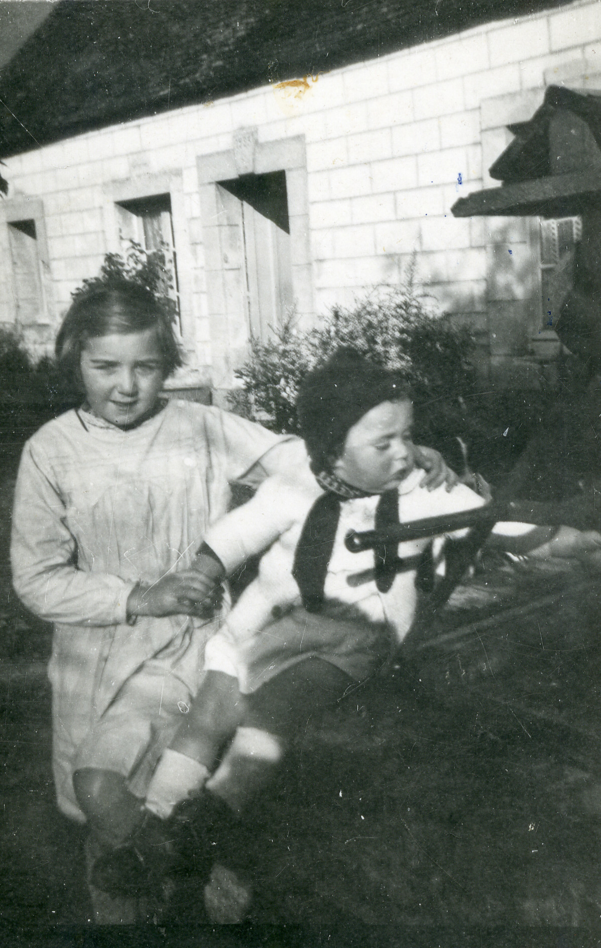 Two Jewish children in hiding in Normandy.  Pictured are Mireille and her brother Maurice Dores.