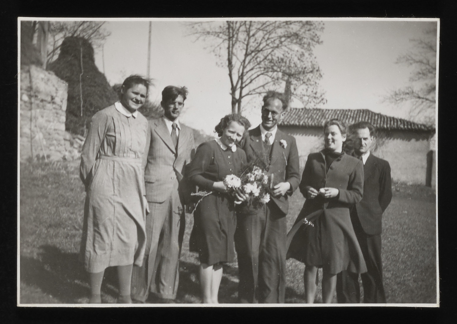 Staff of the La Hillel children's home celebrates the wedding of Anneliese and Heiri Kagi.  Pictured left to right are: Emily Ott, Sebastian Steiger, Anneliese Kagi, Heiri Kagi, Anne-Marie Piguet, and Eugen Lyrer.