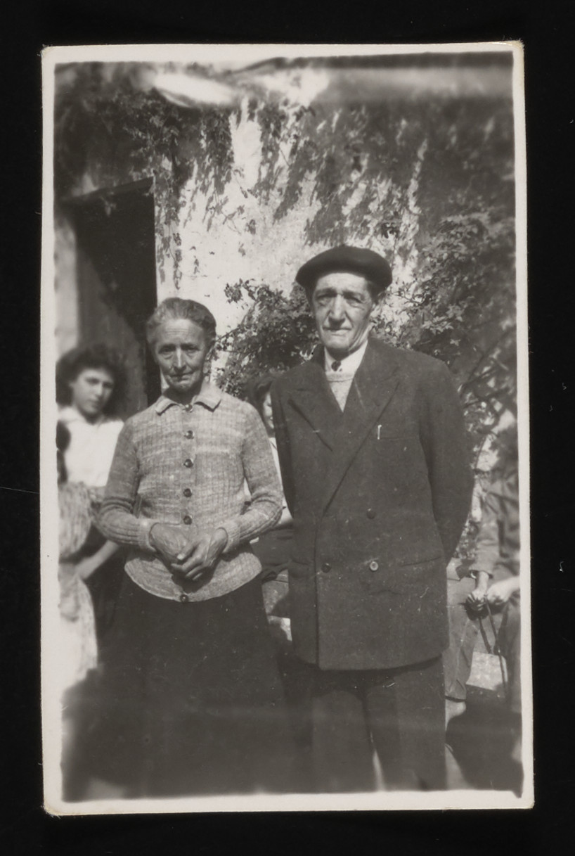 Close-up portrait of Mrs. and Mr. Nadal, staff members of the Chateau de la Hille children's home.