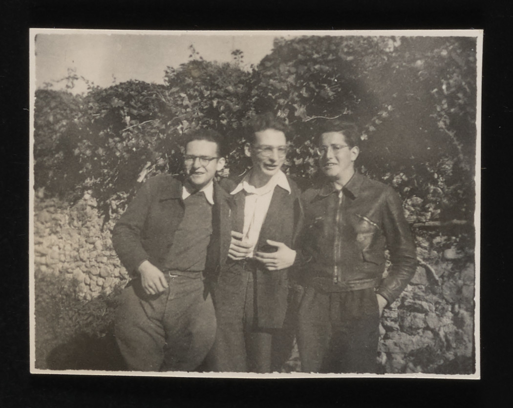 Close-up of three older teenagers at the La Hille children's home.  Pictured from left to right: Manfred Kamlet, Walter Kamlet, and Kurt Moser.  Kurt Moser was later deported to Auschwitz and perished.