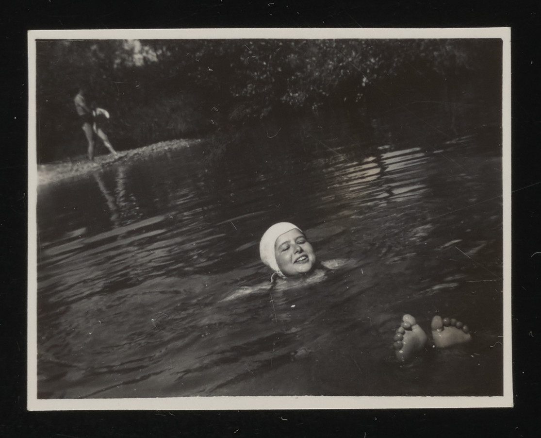Edith Moser swims in the lake at La Hille children's home.