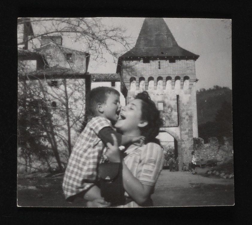 Gerti Lind holds Pepita Paeau outside the La Hille children's home.