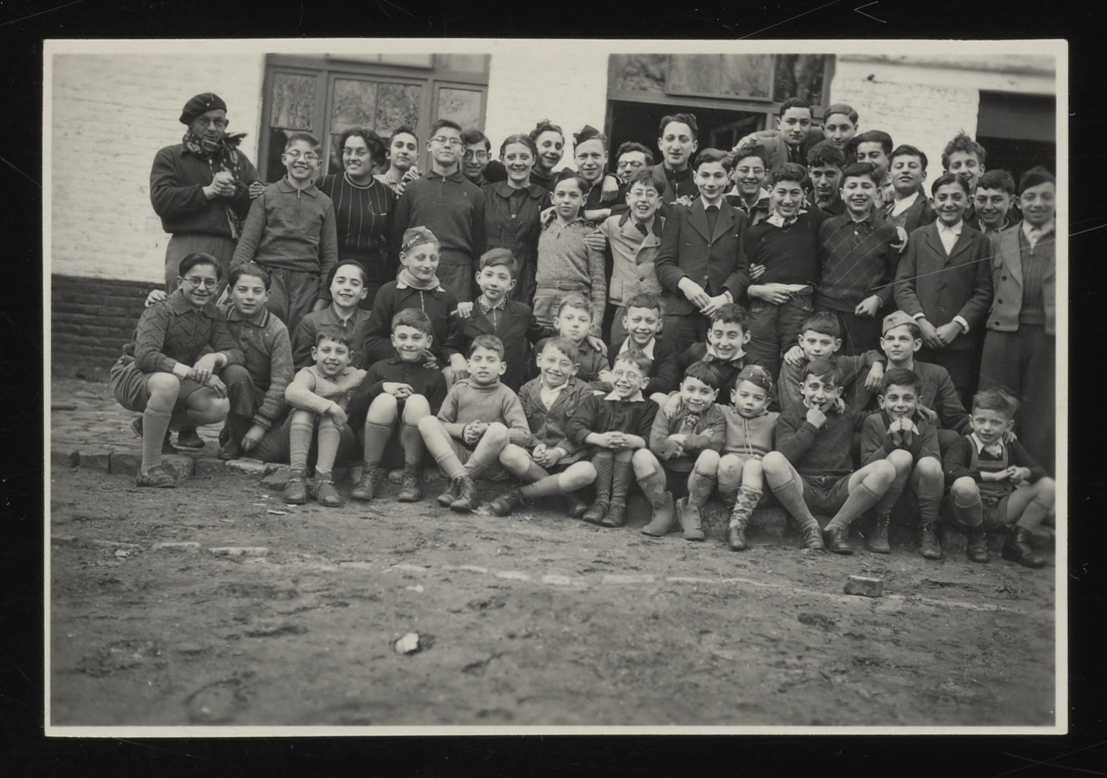 Group portrait of the boys in the Speyer children's home prior to their relocation to the La Hille children's home in France.