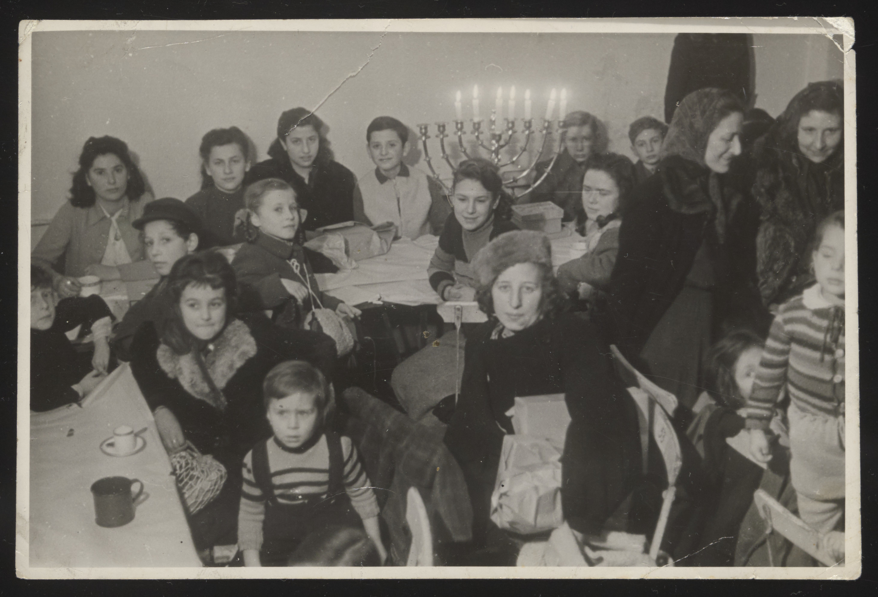 Children celebrate Channuka at the Jewish community center in Berlin after the war.
