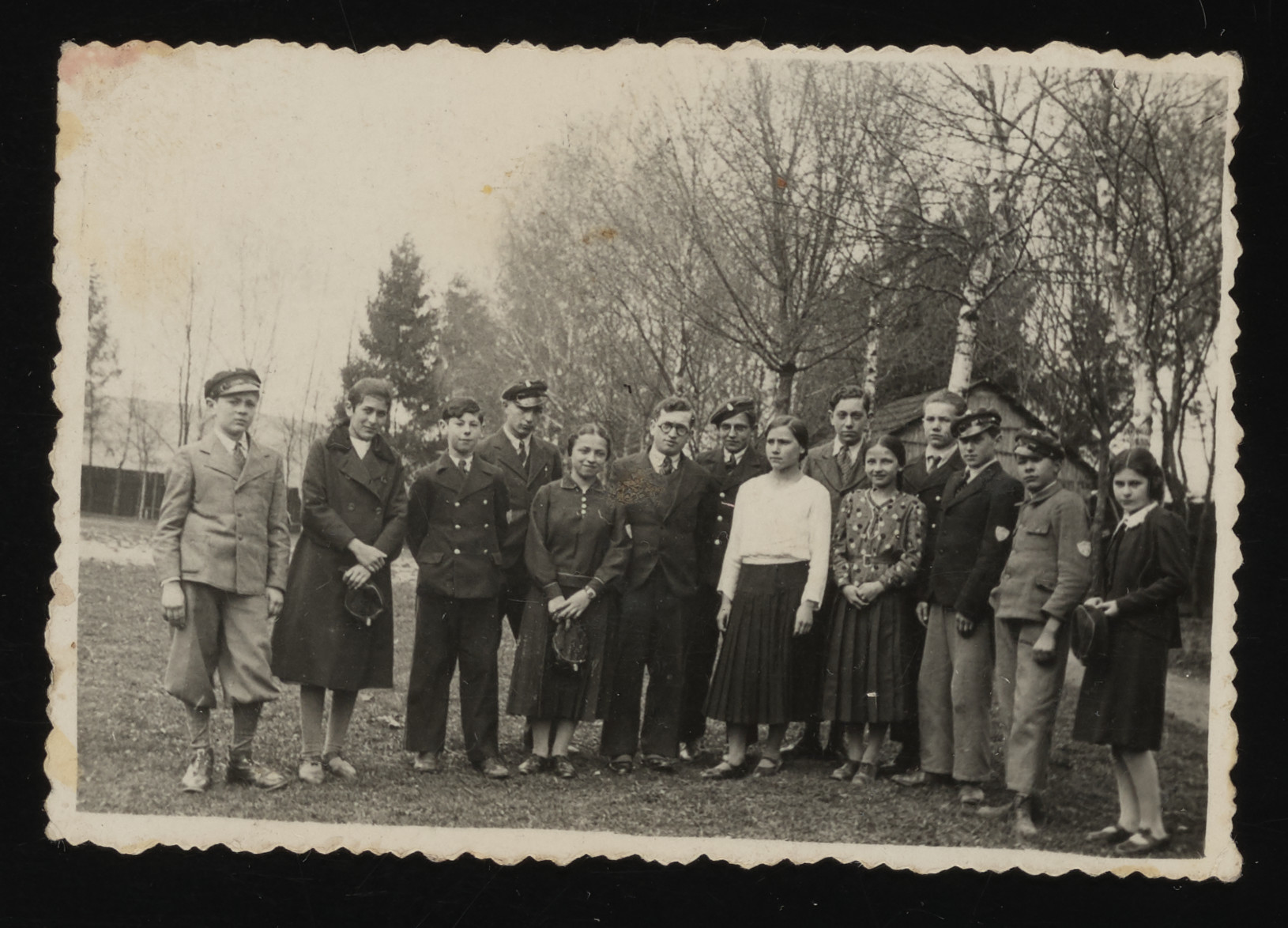 Group portrait of Polish and Jewish students from the Kolbuszowa high school.  Hanka Neiss is second from the left.
