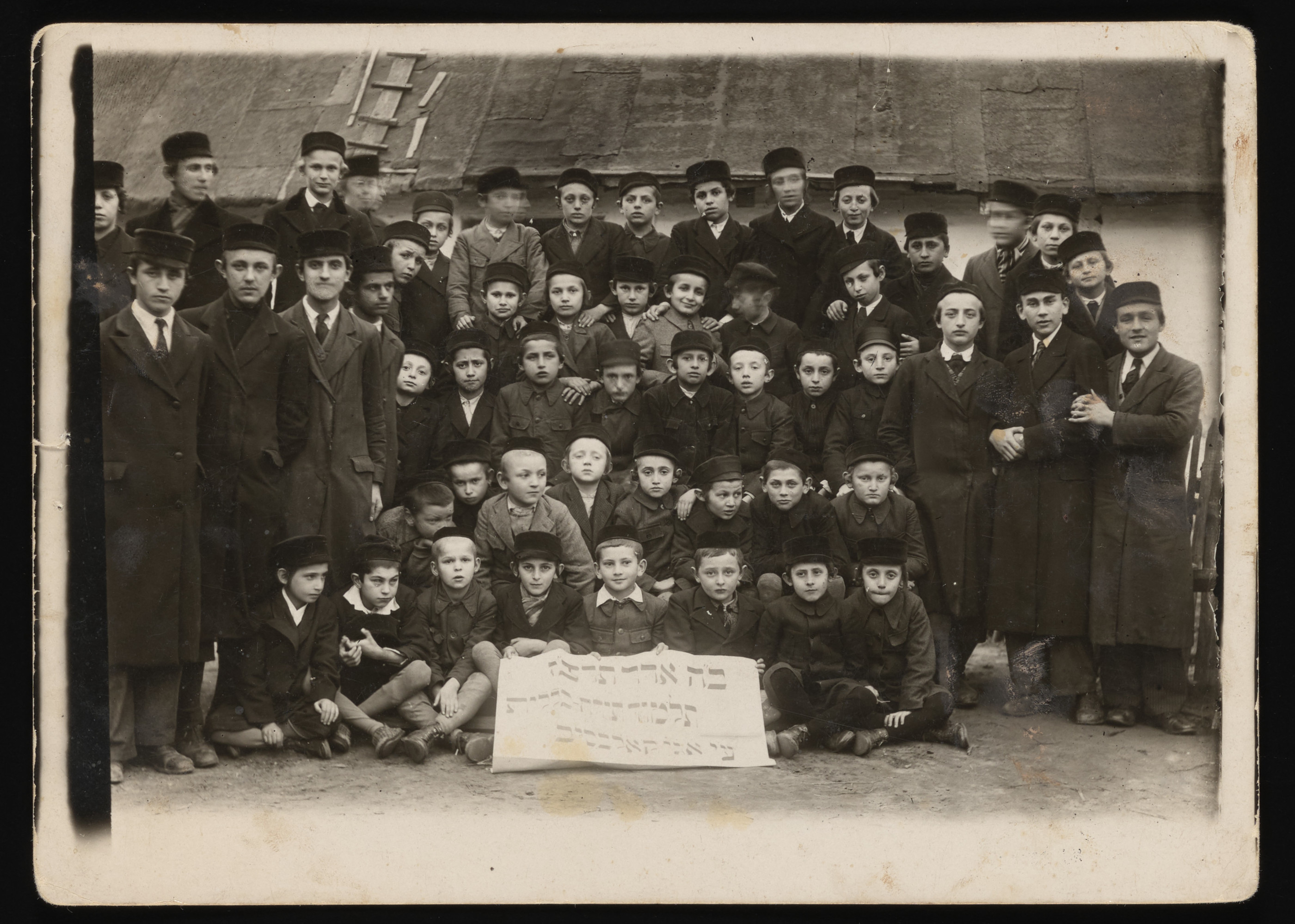 Class photograph of the Kolbuszowa Talmud Torah (religious school for boys).  Among those pictured is Naftali Saleschütz (standing in the third row, second from the right).  All but four of the pupils perished in Belzec in July 1942.