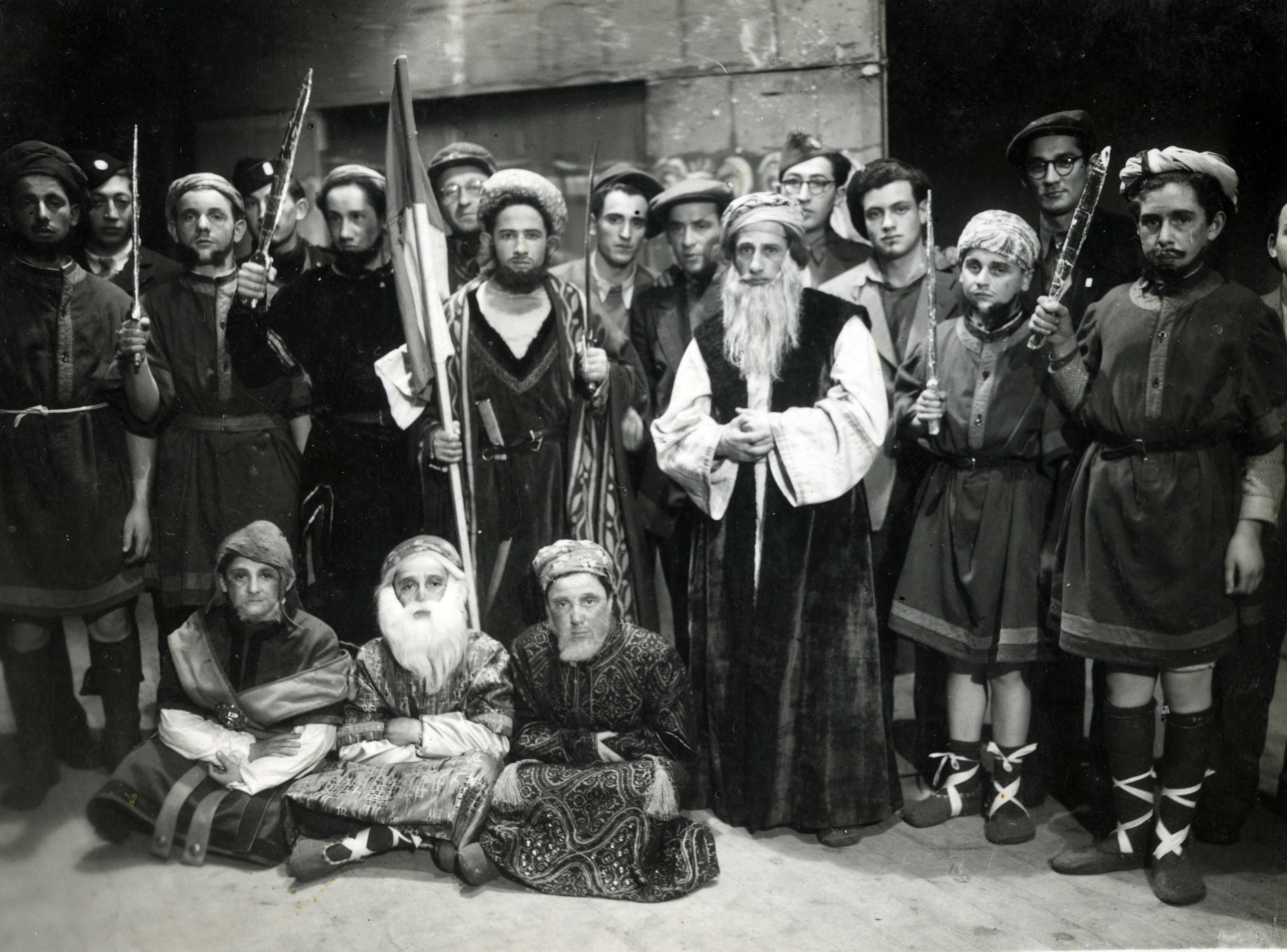 Children dressed up for a Purim party in the Neu Freimann displaced persons camp.