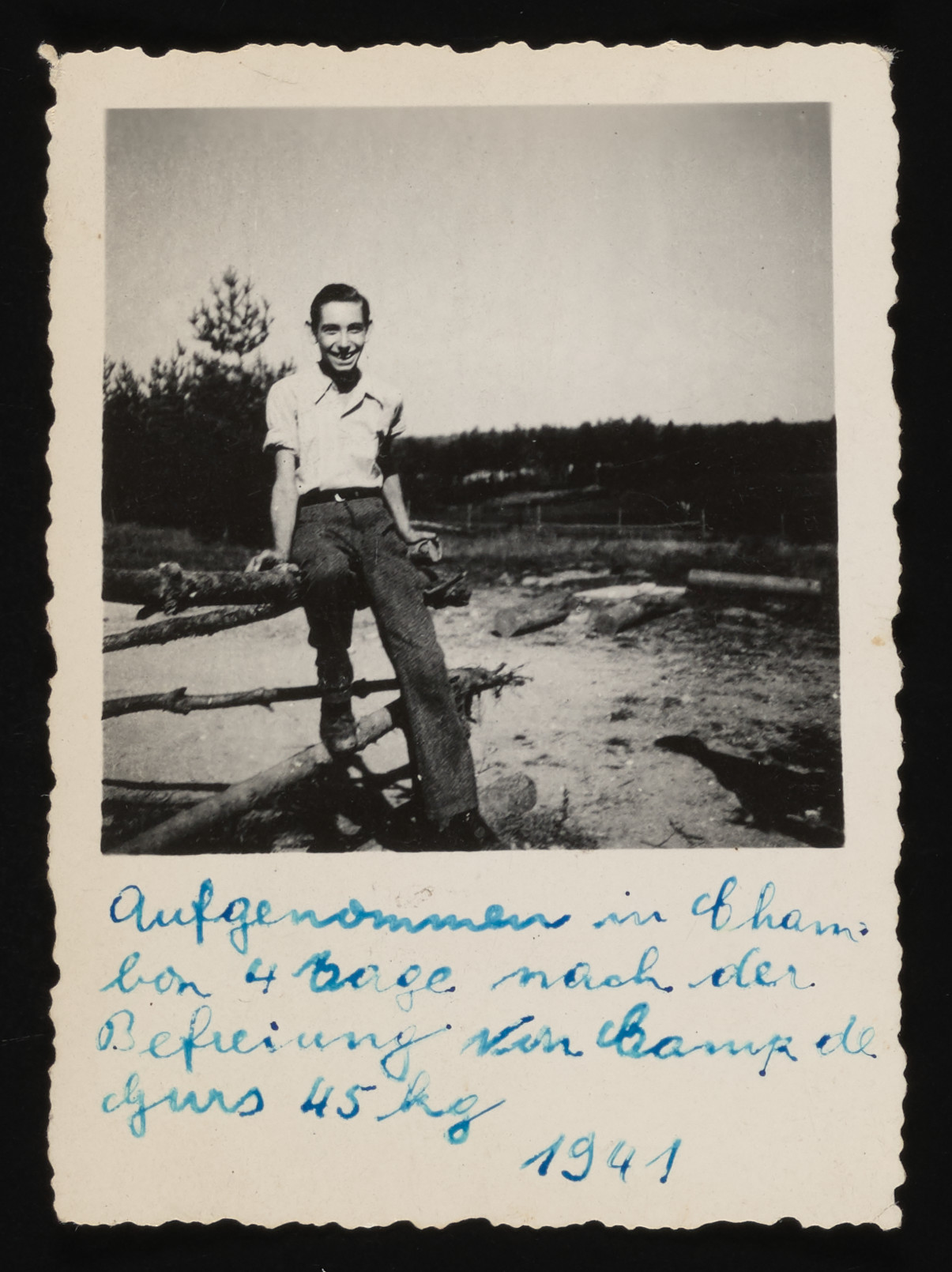 Portrait of Jack Lewin in Le Chambon four days after his release from the Gurs transit camp.