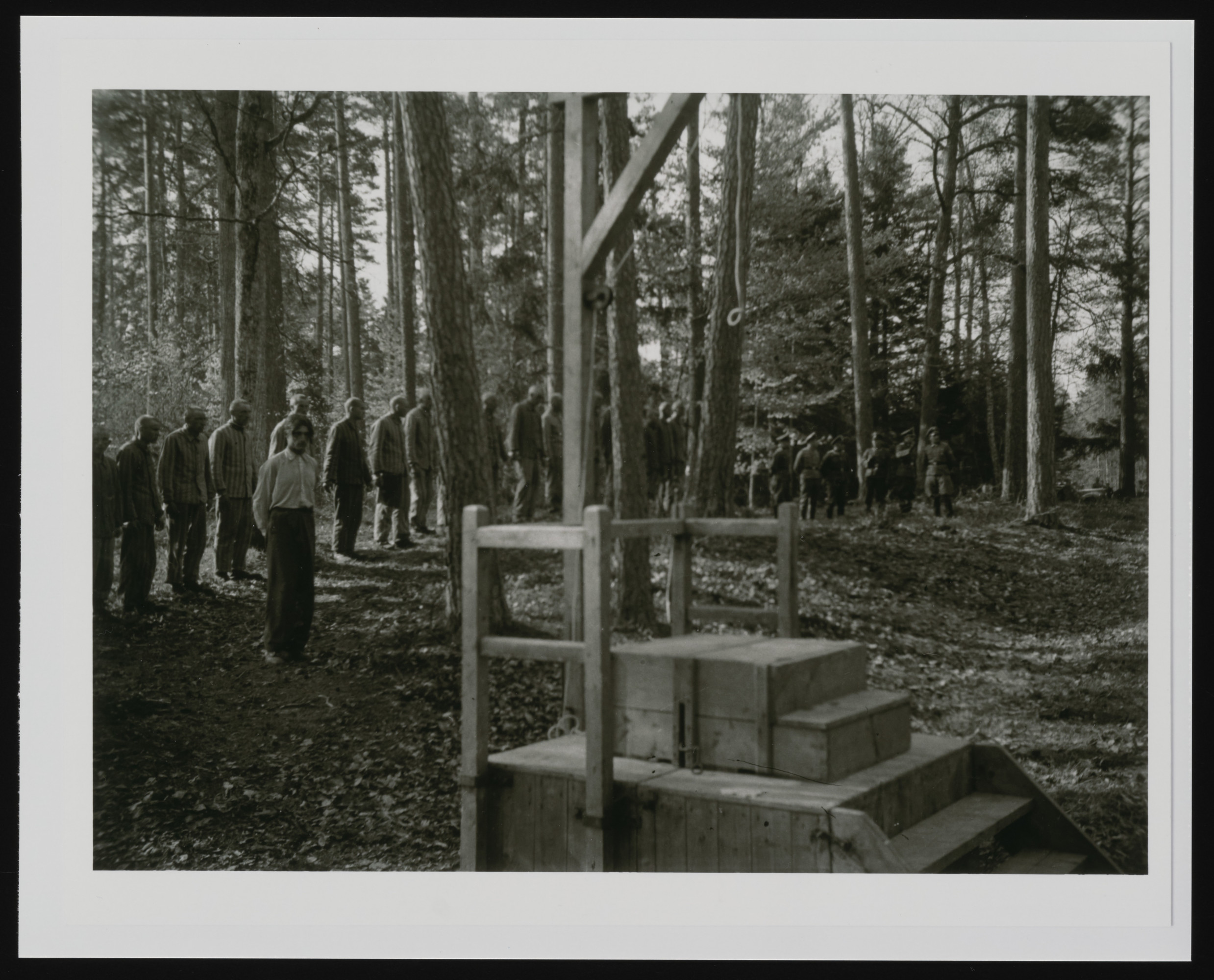 The execution of prisoners in the forest near Buchenwald concentration camp.