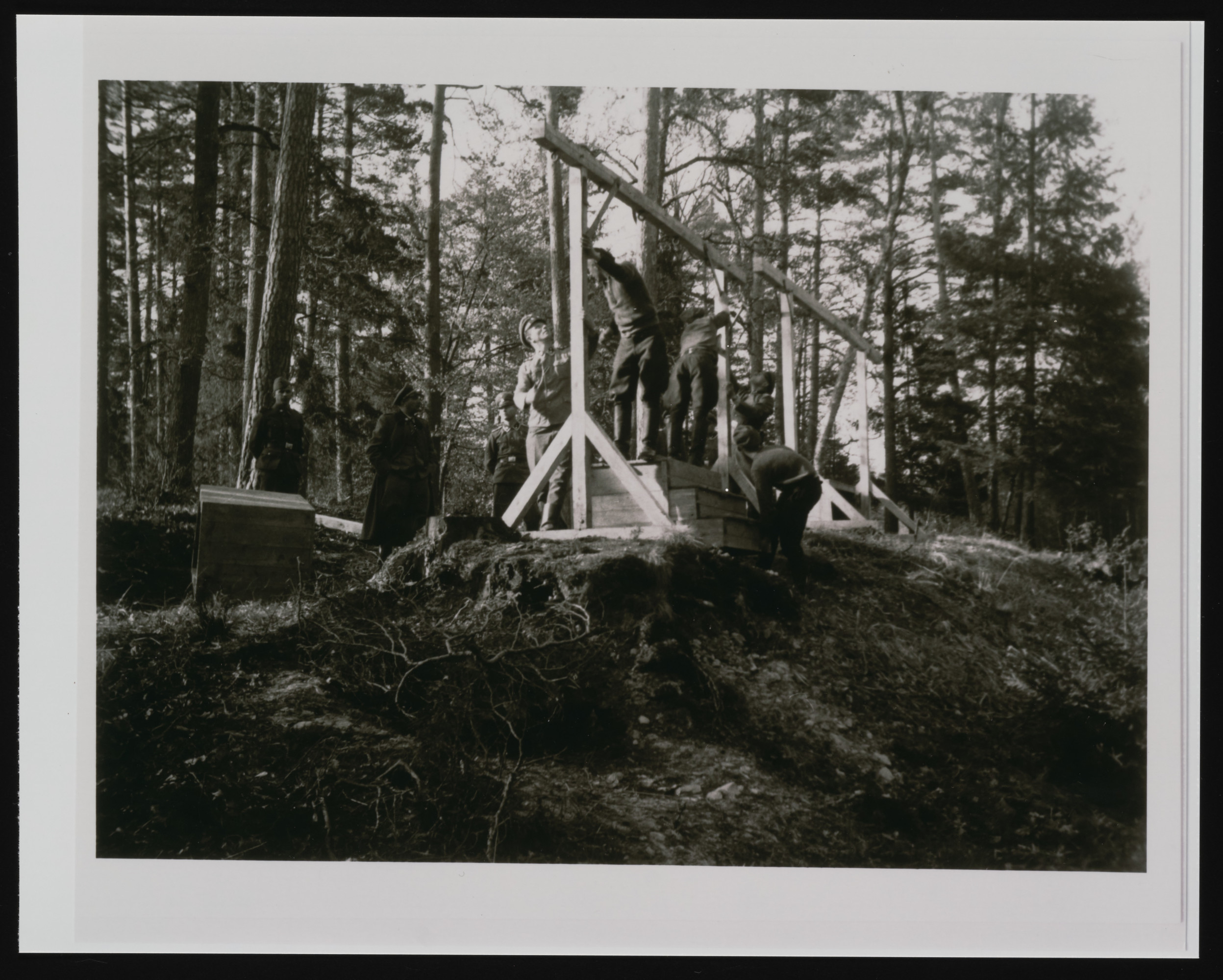 SS officers supervising the building of a gallows in the forest near the Buchenwald concentration camp.
