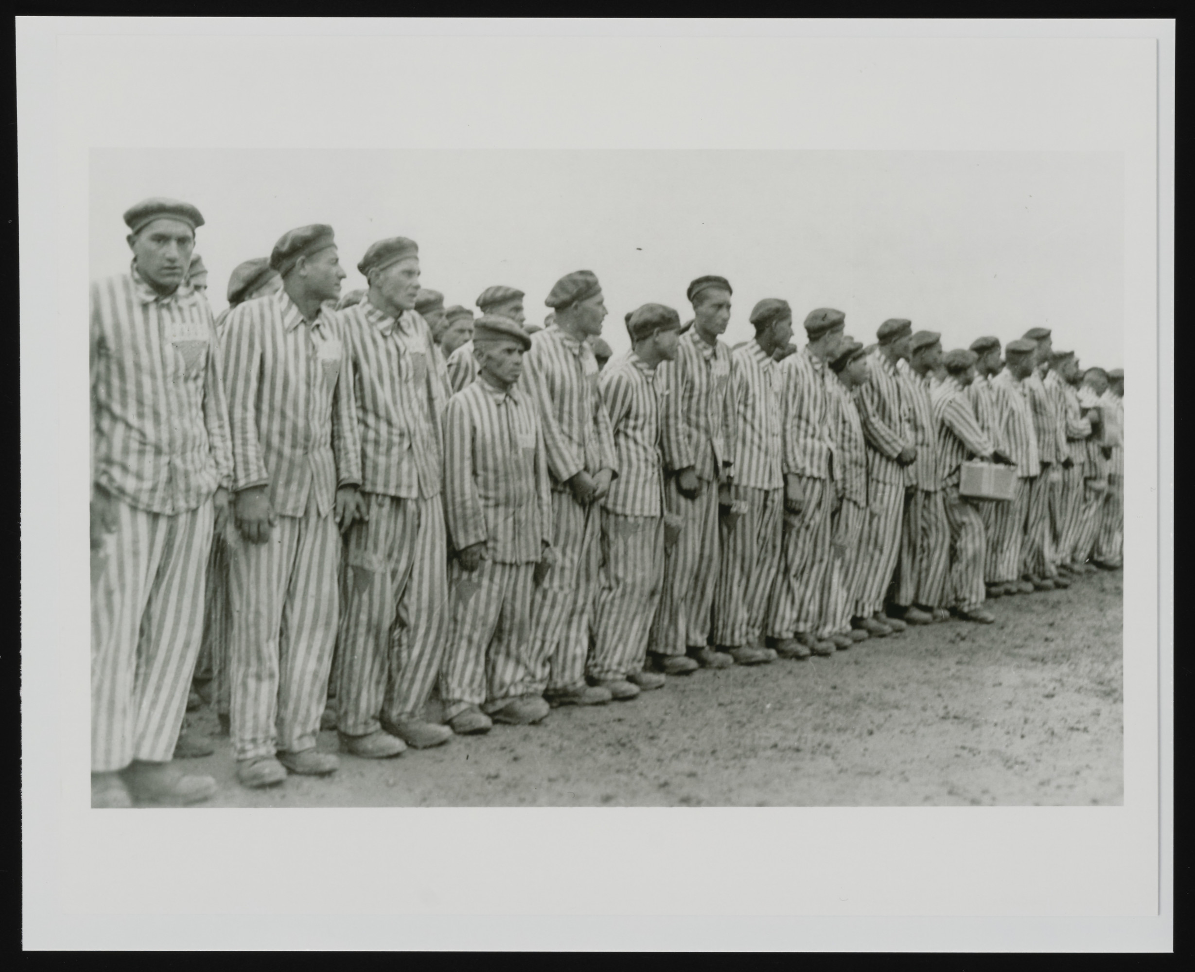 Prisoners at roll call in Buchenwald concentration camp.