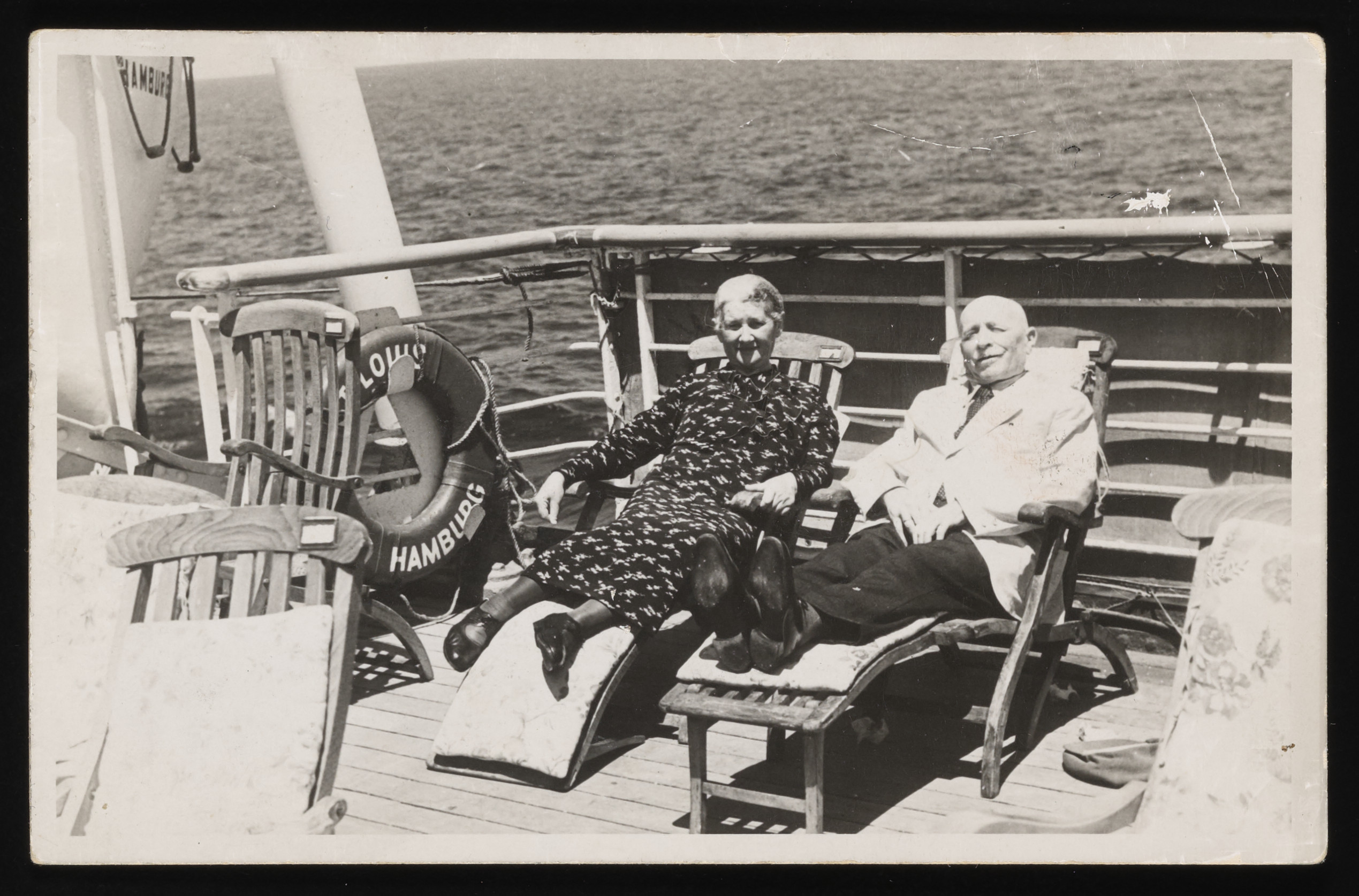 Joseph and Fanny Stein relax in deck chairs on board the MS St. Louis.