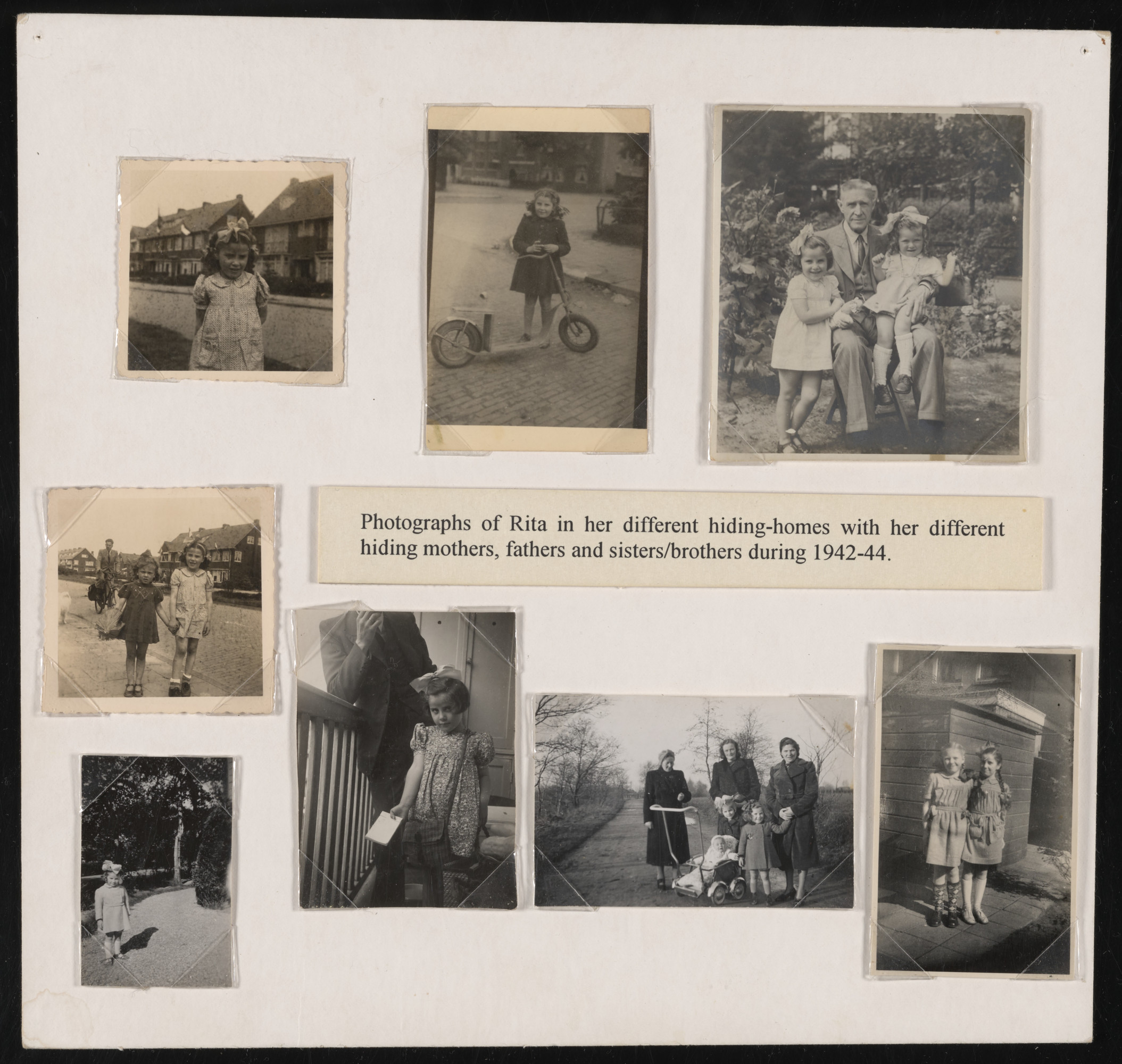 Album page showing all the various places where Rita Serphos hid.