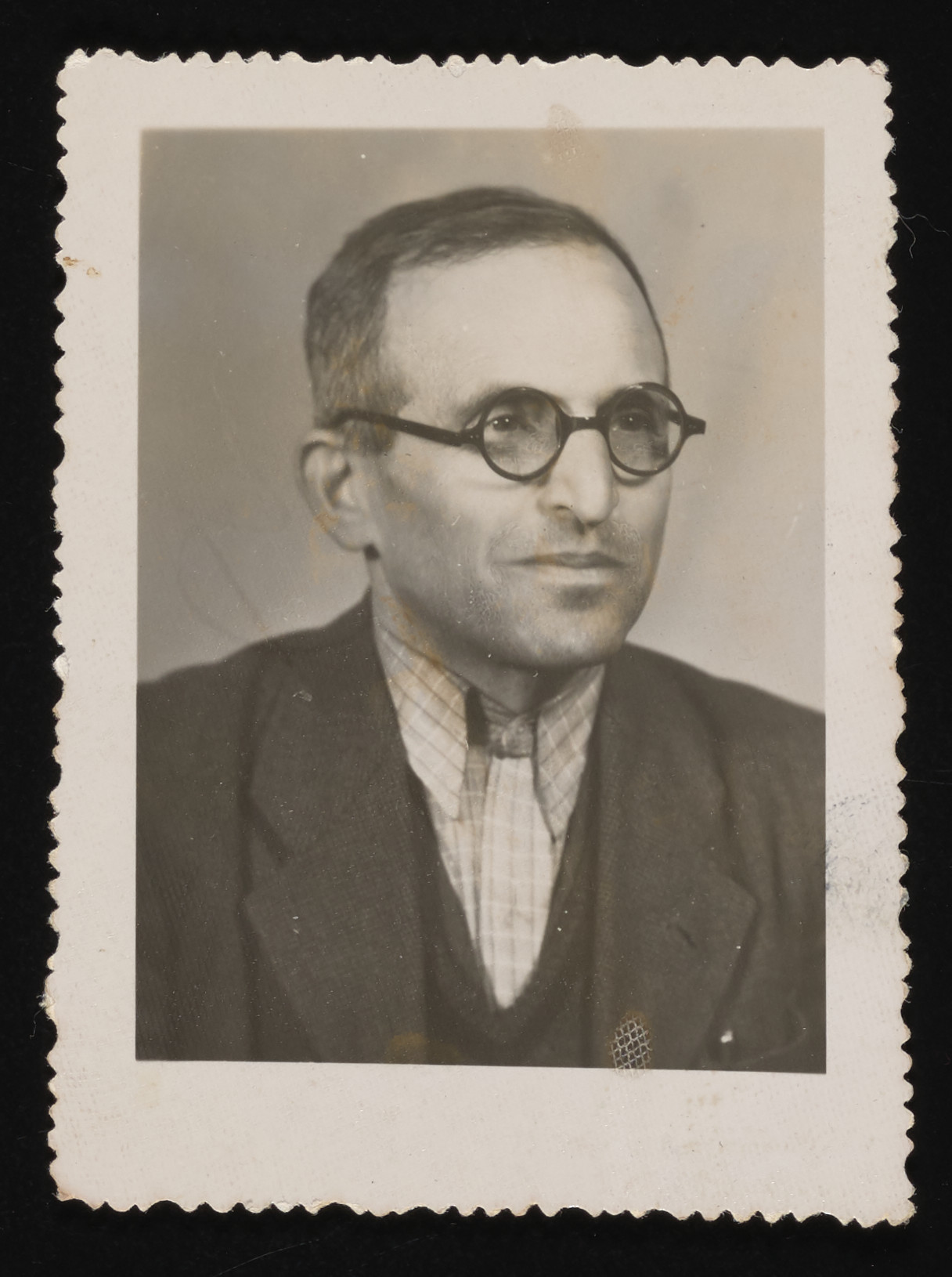 Close-up portrait of Hungarian survivor, Lajos Ornstein, shortly after his liberation from Mauthausen.