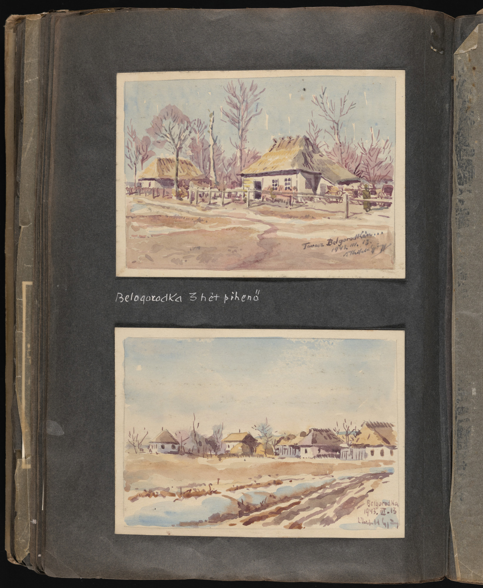 One page of an illustrated album produced by Gyorgy Beifeld (1902-1982), a Hungarian Jew from Budapest, who was drafted into the Munkaszolgalat (Hungarian Labor Service system) and spent more than a year on the Soviet front, from April 1942 through May 1943.  The album contains 402 drawings and watercolors by Byfield, as well as a narrative of his experiences.