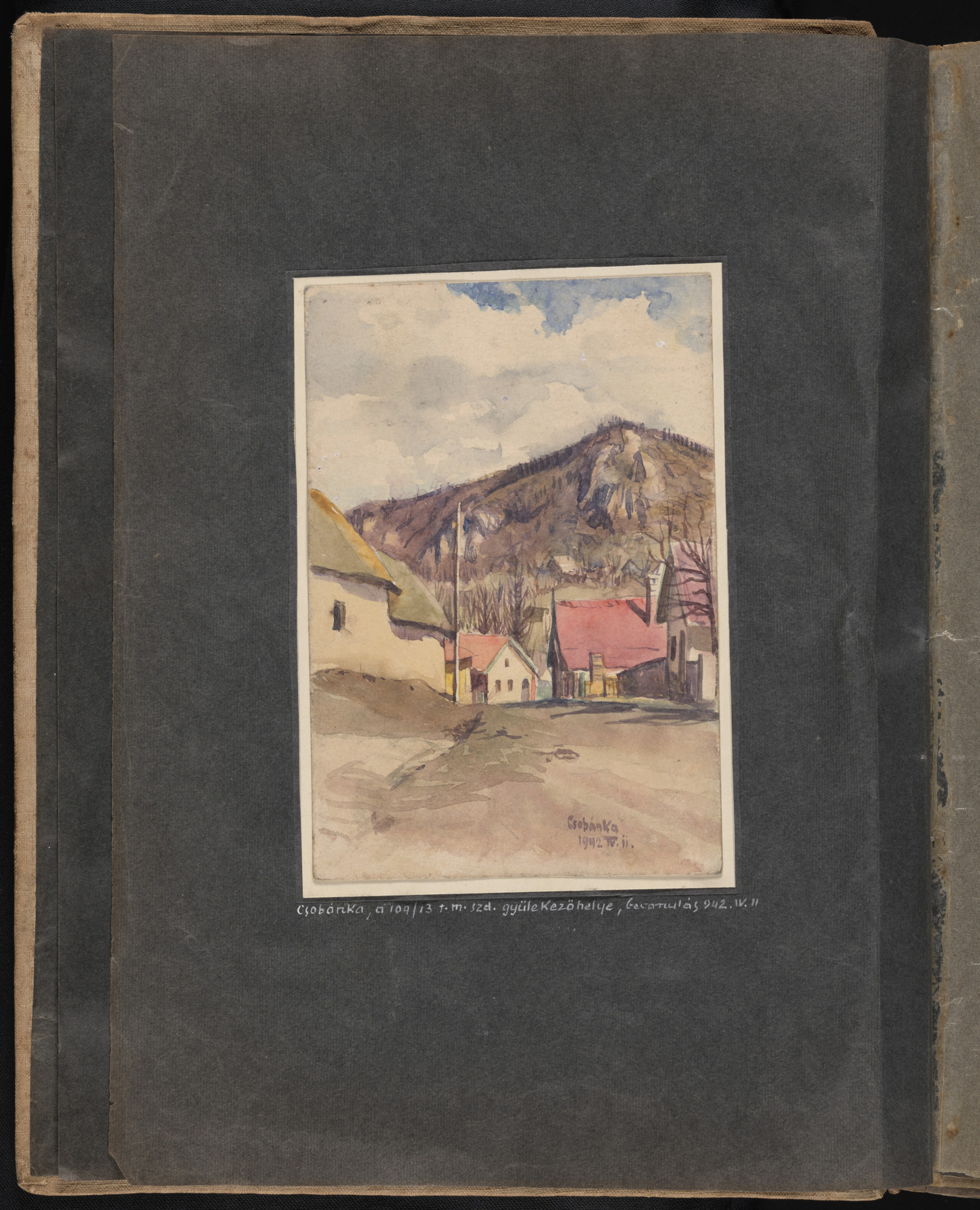 Bottom image: In a drawing dated April 14, 1942, Beifeld shows houses in Csobanka (Szentendre district), Hungary, where the Hungarian military officers assigned to the labor service company were quartered before their departure for the Ukraine.    One page of an illustrated album produced by Gyorgy Beifeld (1902-1982), a Hungarian Jew from Budapest, who was drafted into the Munkaszolgalat (Hungarian Labor Service system) and spent more than a year on the Soviet front, from April 1942 through May 1943.  The album contains 402 drawings and watercolors by Byfield, as well as a narrative of his experiences.