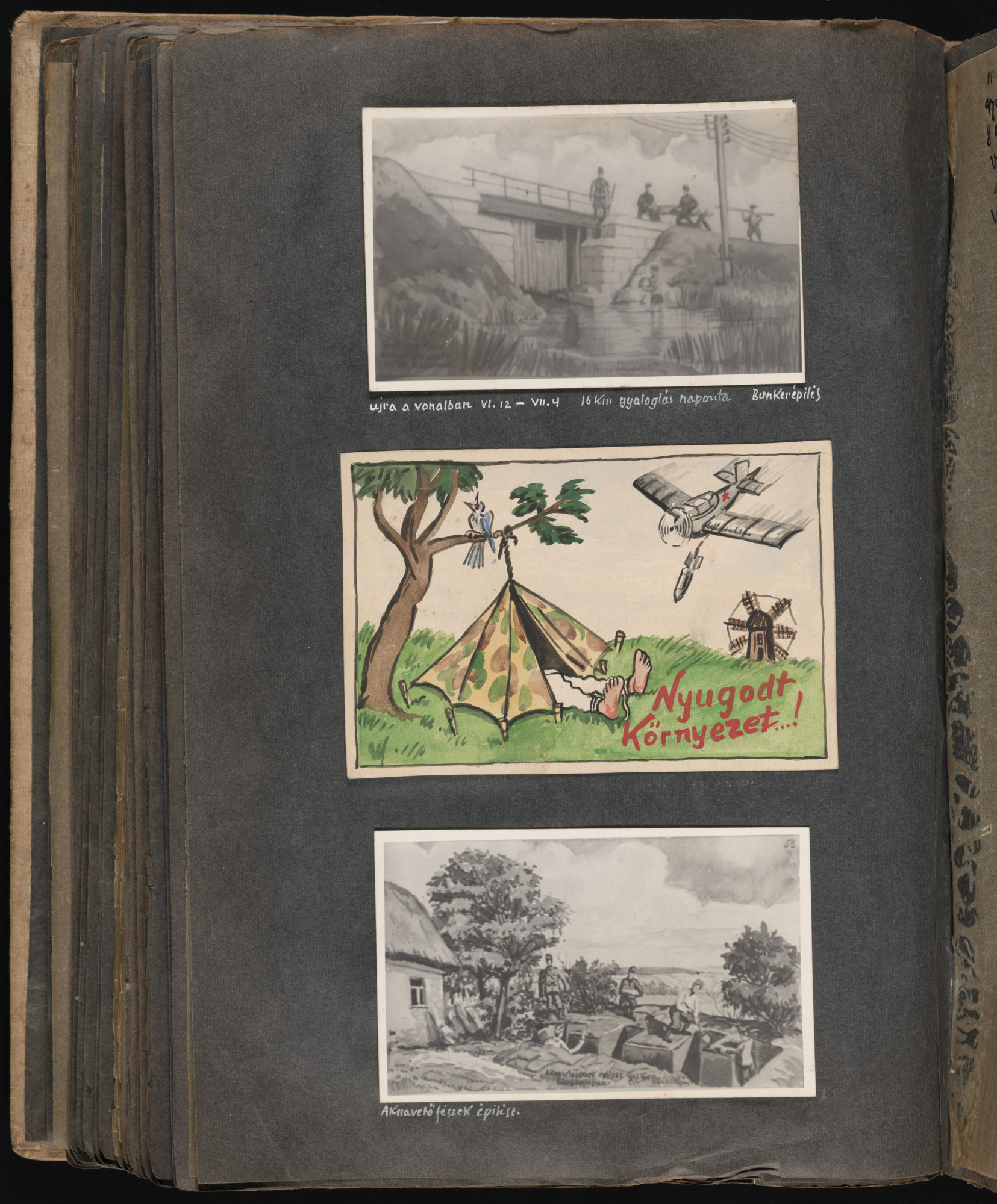 """Middle image: In a take-off of travel posters advertising peaceful vacation spots, Beifeld draws a picture of a Hungarian military tent pitched next to a tree on which a bird is cheerfully chirping.  Next to the tent the artist writes """"Peaceful Surroundings"""" but above, a Soviet bomber releases a bomb aimed at the tent.  One page of an illustrated album produced by Gyorgy Beifeld (1902-1982), a Hungarian Jew from Budapest, who was drafted into the Munkaszolgalat (Hungarian Labor Service system) and spent more than a year on the Soviet front, from April 1942 through May 1943.  The album contains 402 drawings and watercolors by Byfield, as well as a narrative of his experiences."""