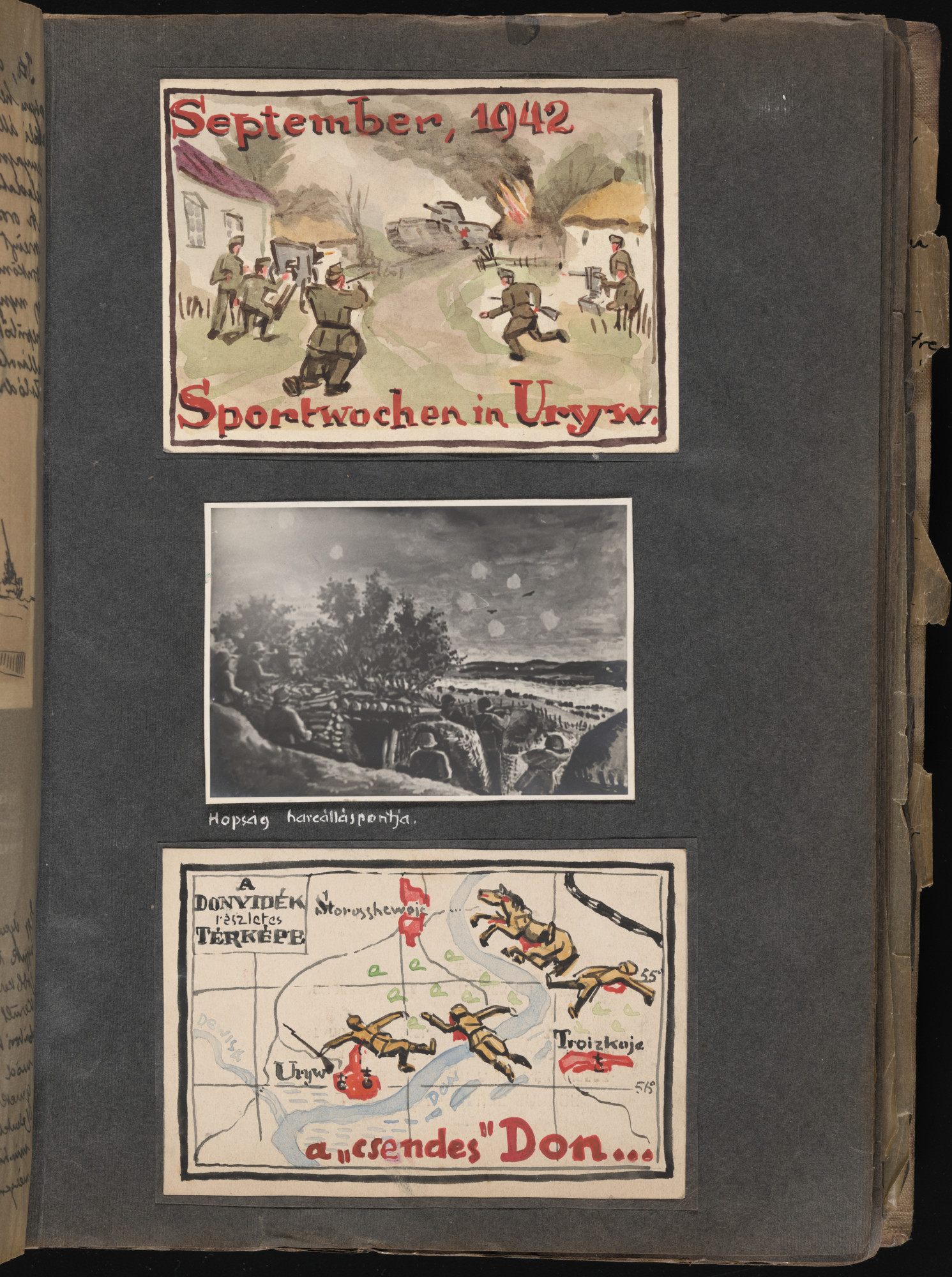 Watercolor entitled 'Sports weeks in Uryv, September 1942,' in which a Russian tank attacks a Hungarian unit in Uryv (top); watercolor entitled 'Quiet Don: a detailed map of the Don River area,' featuring images of dead soldiers, horses and spilled blood on a map of the Don River (bottom).  One page of an illustrated album produced by Gyorgy Beifeld (1902-1982), a Hungarian Jew from Budapest, who was drafted into the Munkaszolgalat (Hungarian Labor Service system) and spent more than a year on the Soviet front, from April 1942 through May 1943.  The album contains 402 drawings and watercolors by Byfield, as well as a narrative of his experiences.