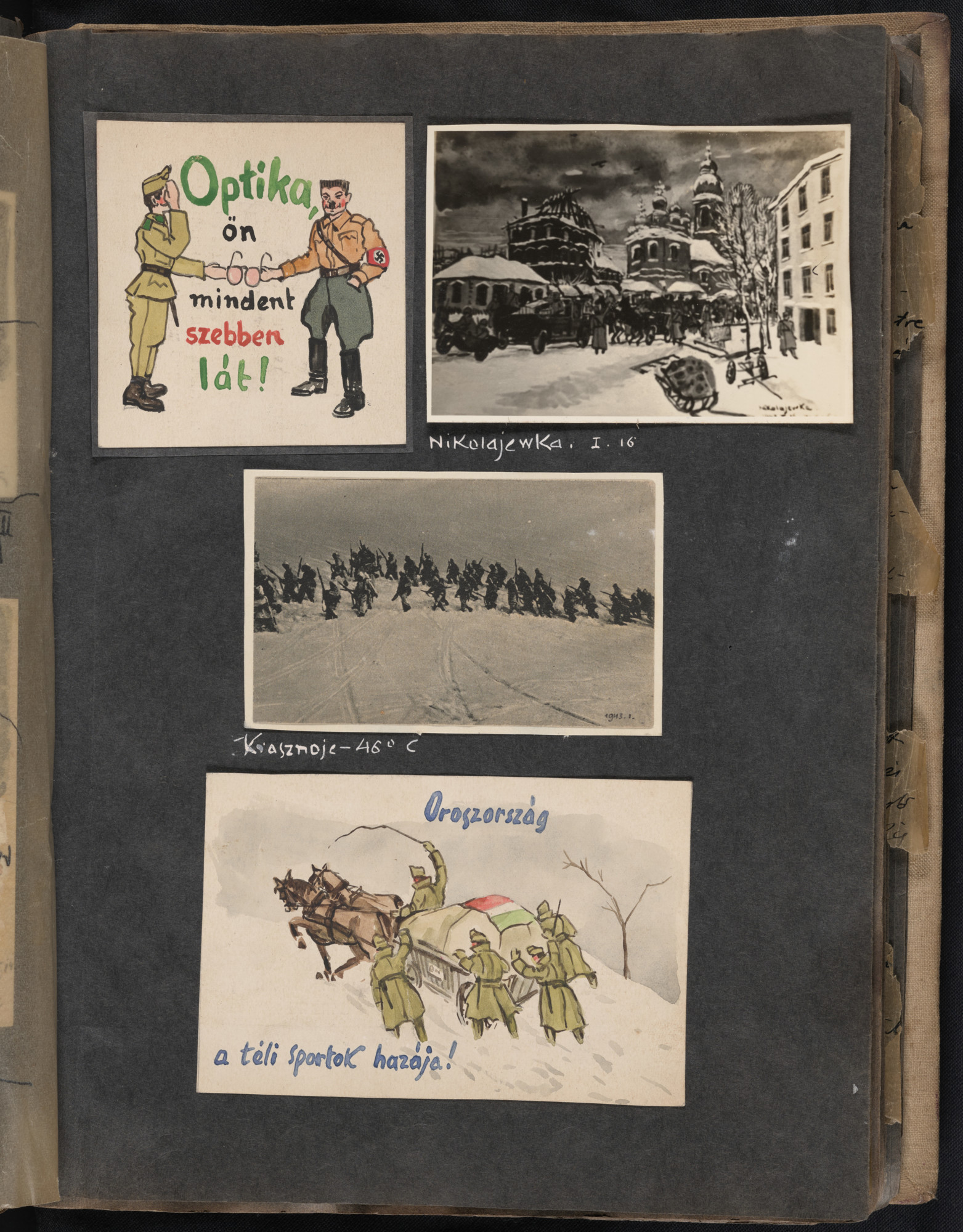 Middle image: A photo of a painting by Beifeld showing retreating Hungarian soldiers in January 1943 moving through the snow with their rifles near Krasnoye, where the temperature has reached -46 degrees celsius.  One page of an illustrated album produced by Gyorgy Beifeld (1902-1982), a Hungarian Jew from Budapest, who was drafted into the Munkaszolgalat (Hungarian Labor Service system) and spent more than a year on the Soviet front, from April 1942 through May 1943.  The album contains 402 drawings and watercolors by Byfield, as well as a narrative of his experiences.