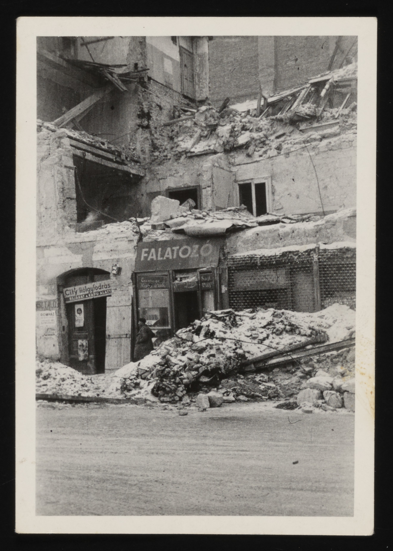 View of a bombed out street of Budapest shortly after liberation.