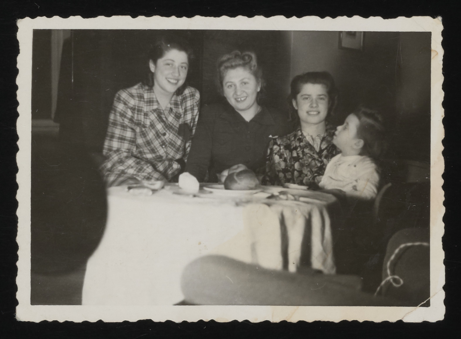 Clara Kalb (center) poses with two sisters her husband, Jewish rescuer Ben Zion Kalb, helped smuggle into Slovakia from Poland.  Rita Schmidt (later Nussbaum) is on the left and Ruth Schmidt (later Gellis) is on the right.