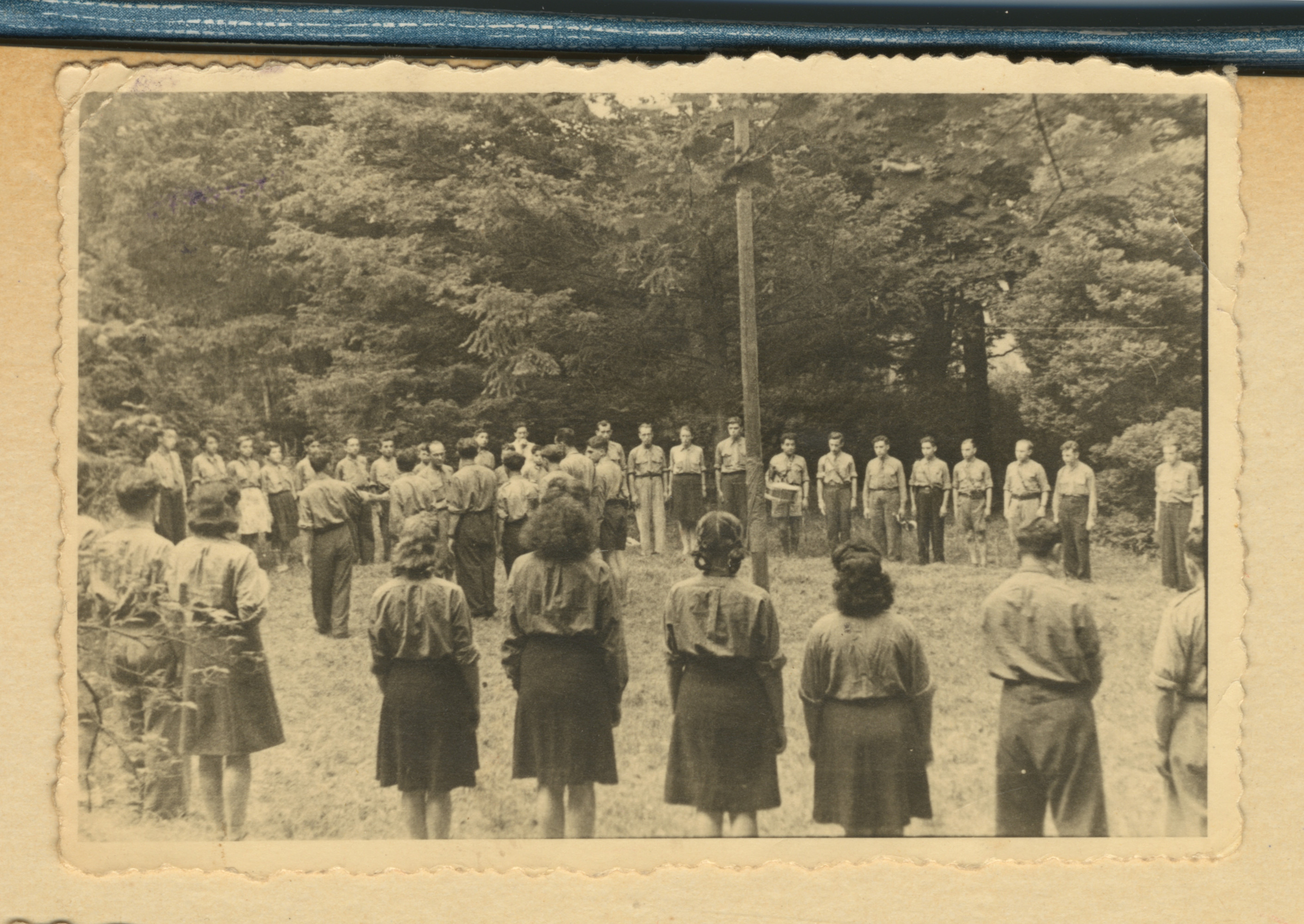 A postwar youth group conducts a ceremony, probably in Lodz.
