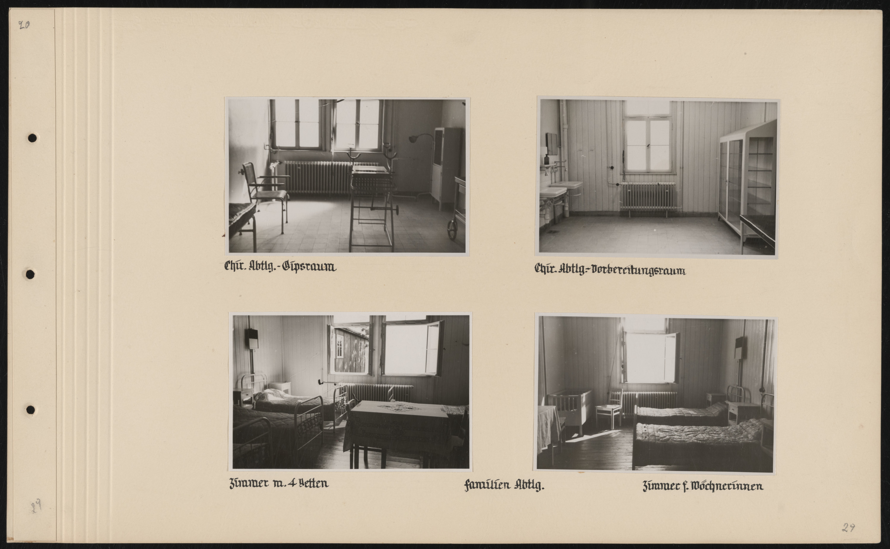 Page from a photo album documenting the construction of the SS Truppenlazarett, the SS troop hospital in Auschwitz.