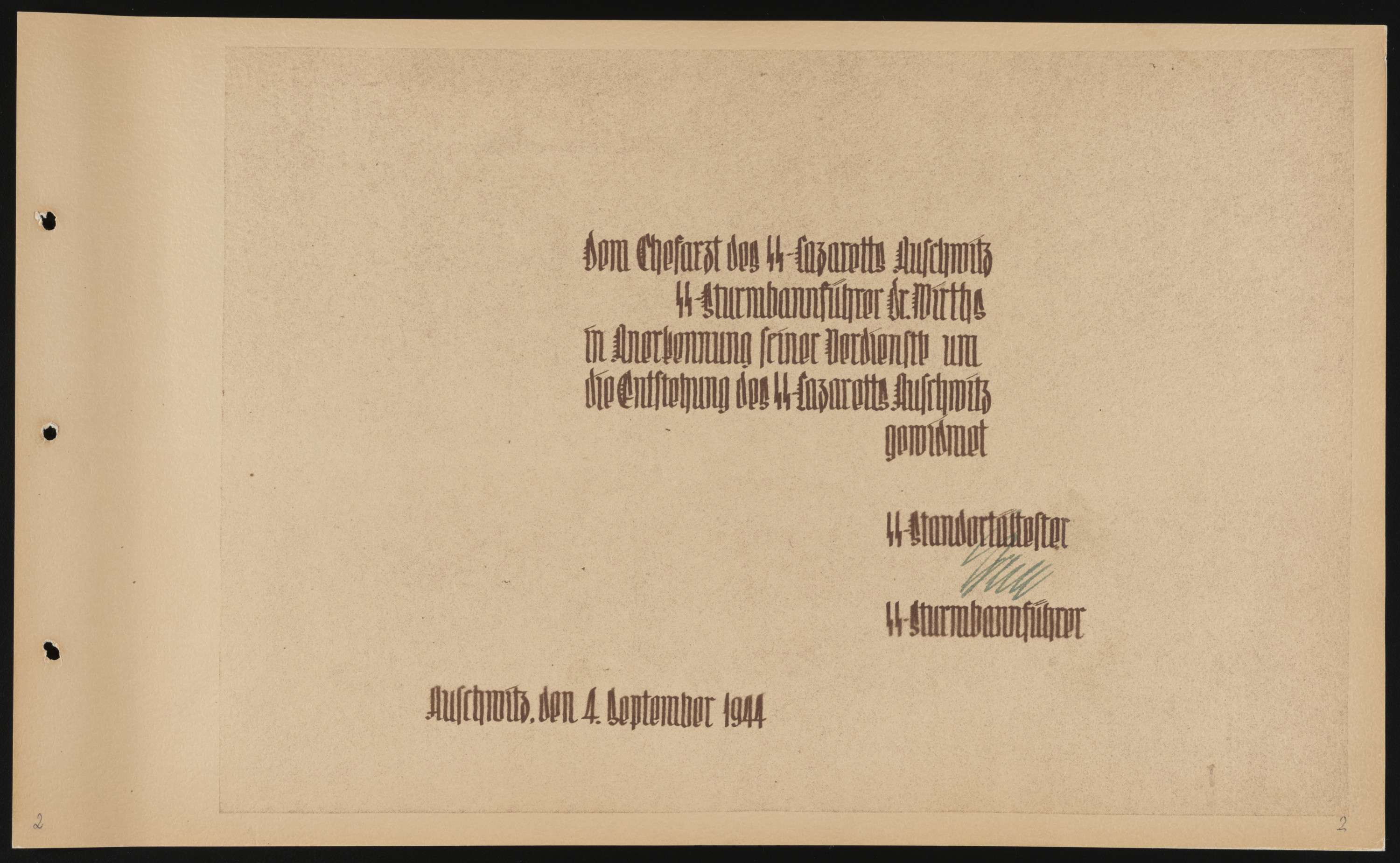 Interior title page of a photo album documenting the creation of the SS Truppenlazarett, the SS troop hospital in Auschwitz and dedication to Dr. Eduard Wirths.