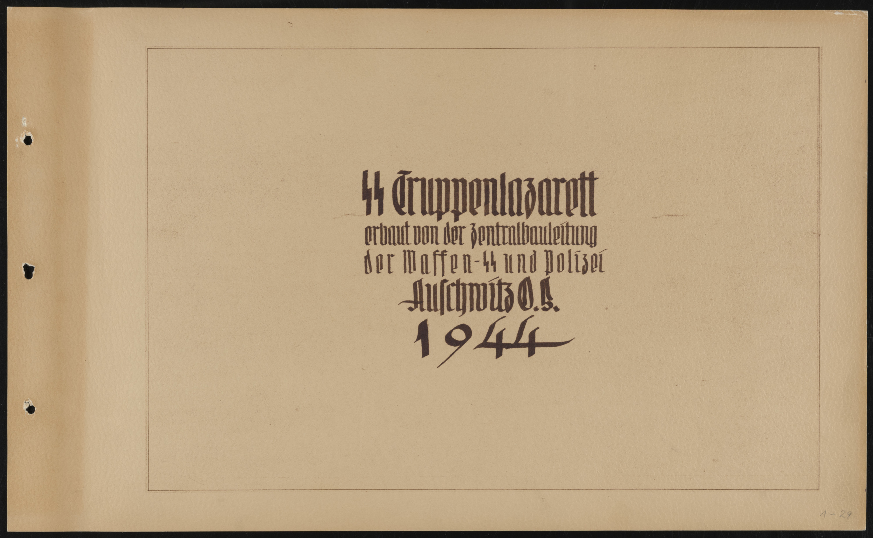 Title page of a photo album documenting the creation of the SS Truppenlazarett, the SS troop hospital in Auschwitz.