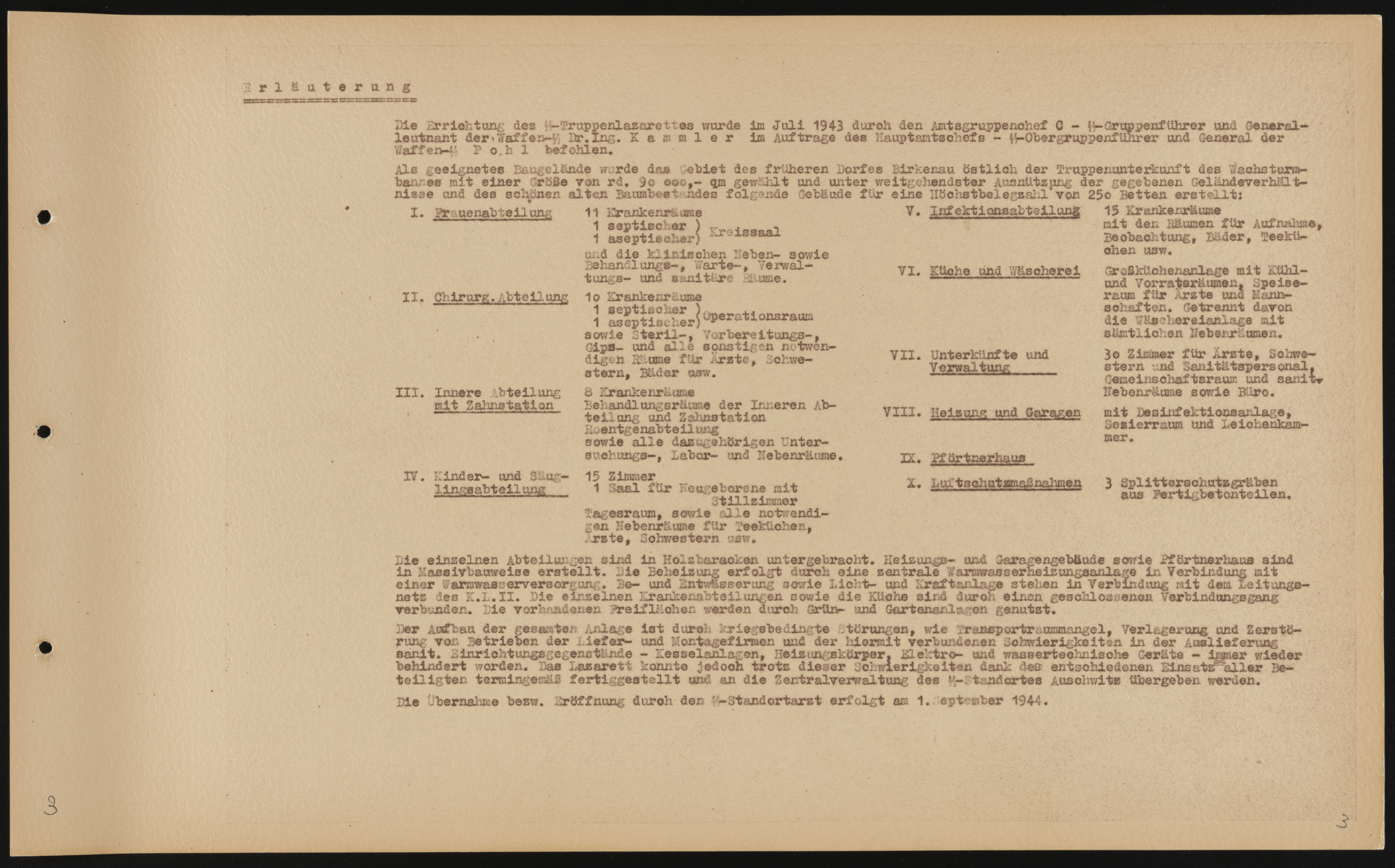 Content page for a photo album documenting the creation of the SS Truppenlazarett, the SS troop hospital in Auschwitz.