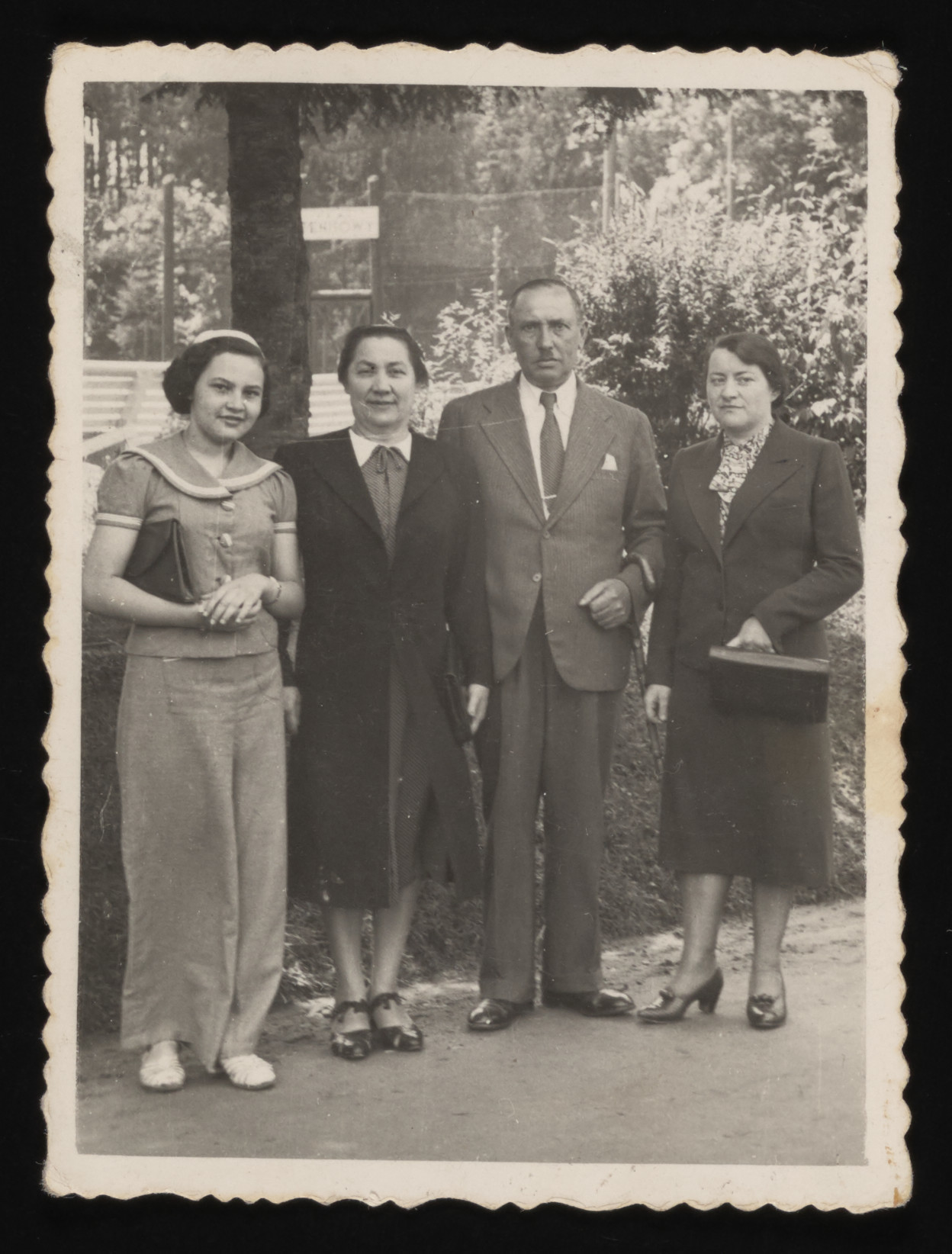 Gina Tabaczynska (left) poses with her parents and aunt, Hala (Szczecinska) Tabaczynska (right), during a vacation in the resort town of Truskawiec.    Hala survived the war, but her two children, Inka and Mietek, perished in Chelmno.