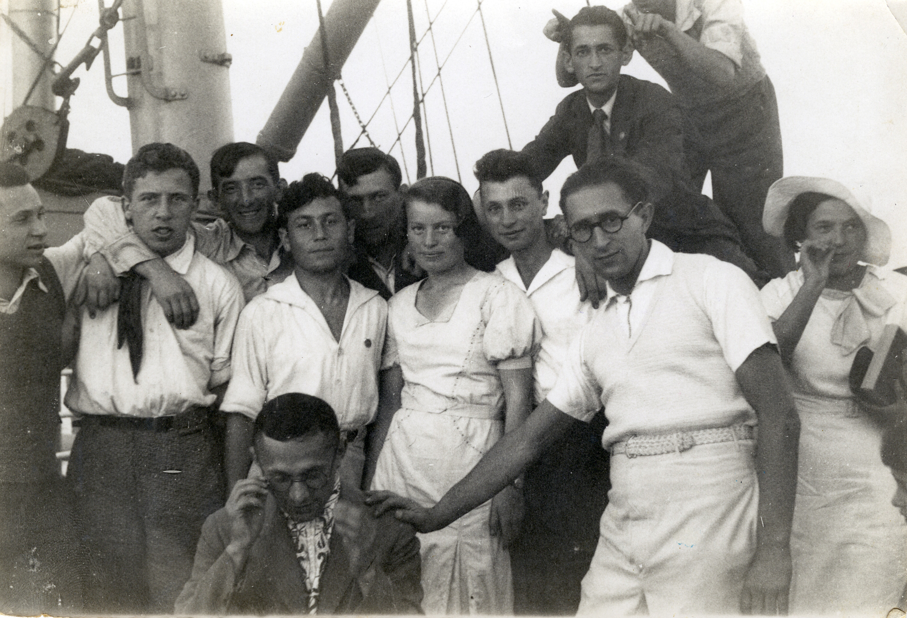Jewish immigrants leave for Palestine on board the Polonia.  Among those pictured is Israel Virshup (second row, second from the left).