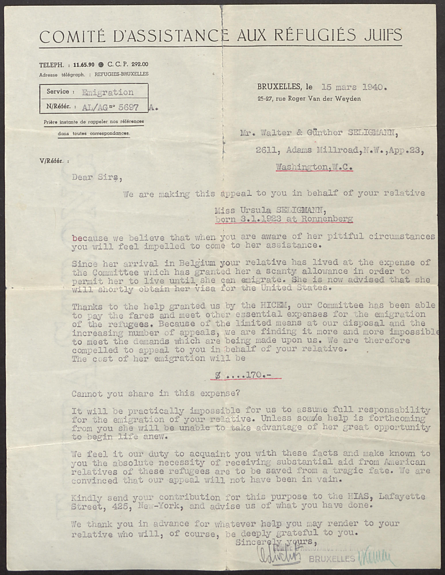 Letter from the Belgian Committee to Assist Jewish Refugees to Walter and Guenther Seligmann of Washington, D.C. on behalf of their relative, Ursula Seligmann.